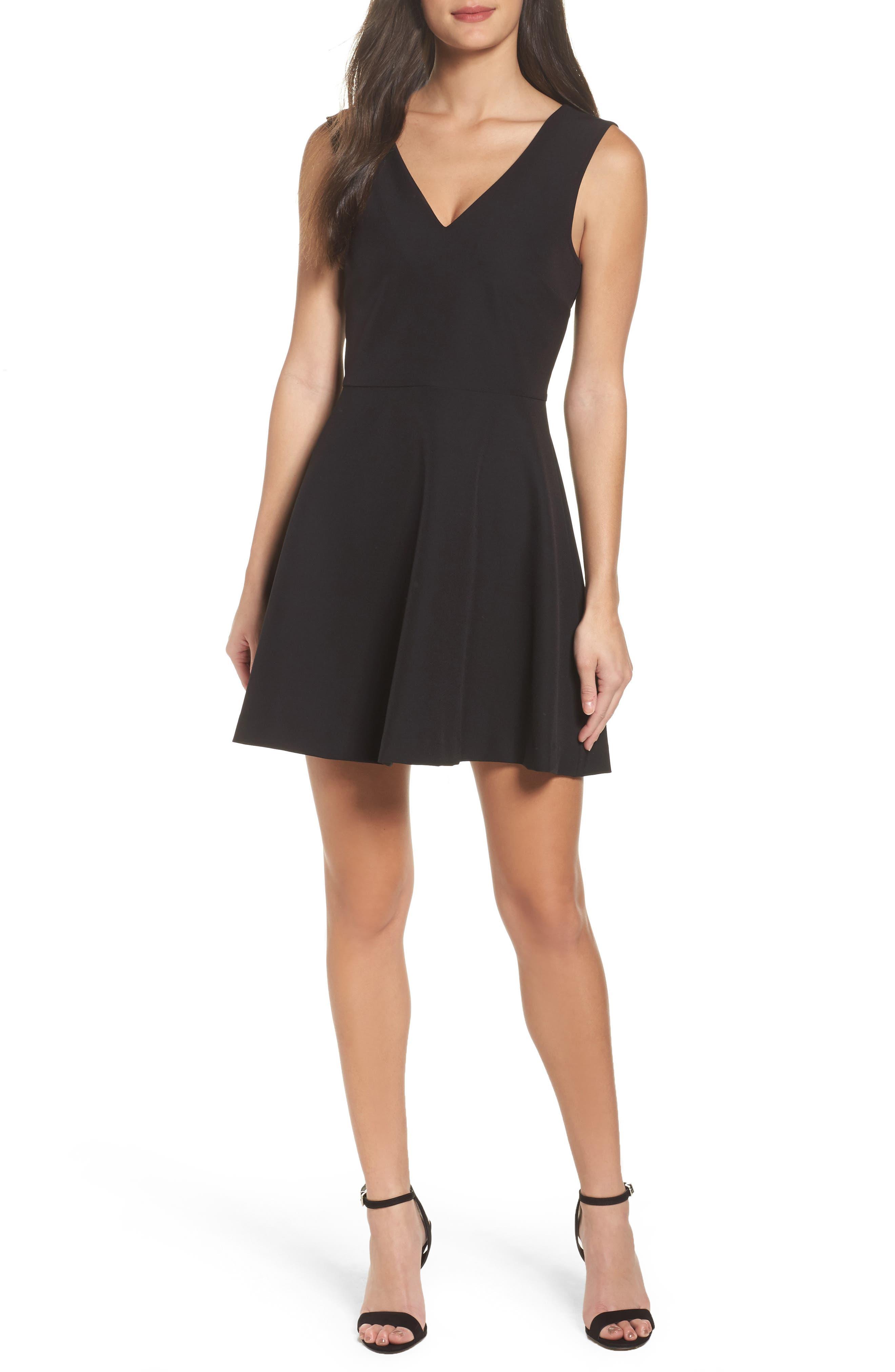 Bianca Back Cutout Fit & Flare Dress,                             Main thumbnail 1, color,                             Black