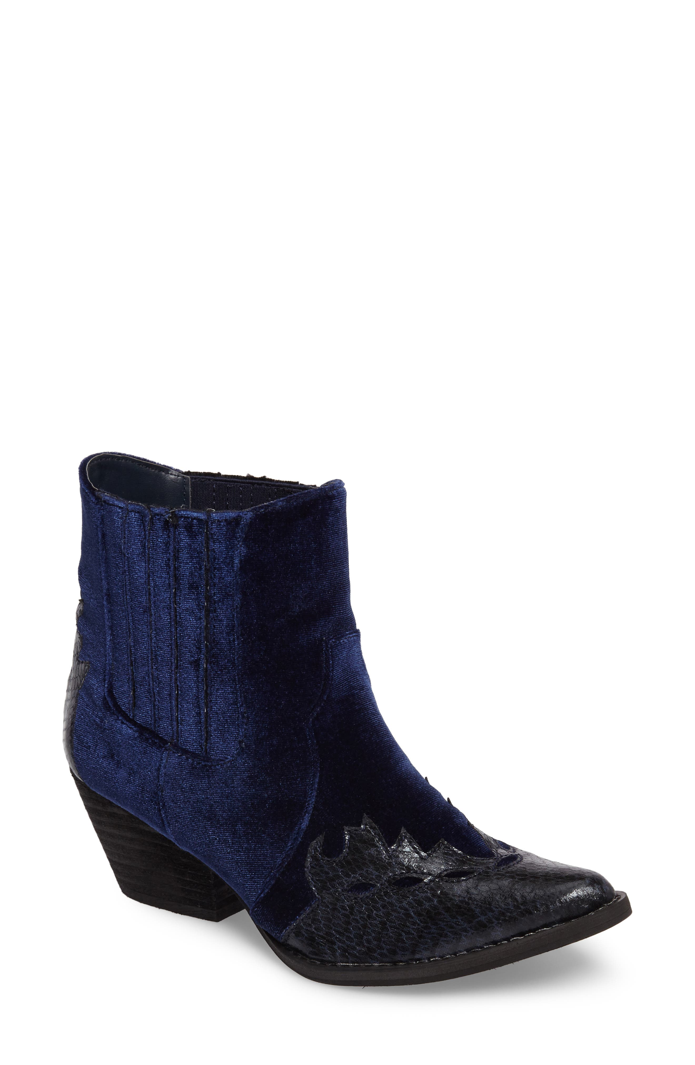Sava Western Chelsea Bootie,                             Main thumbnail 1, color,                             Navy