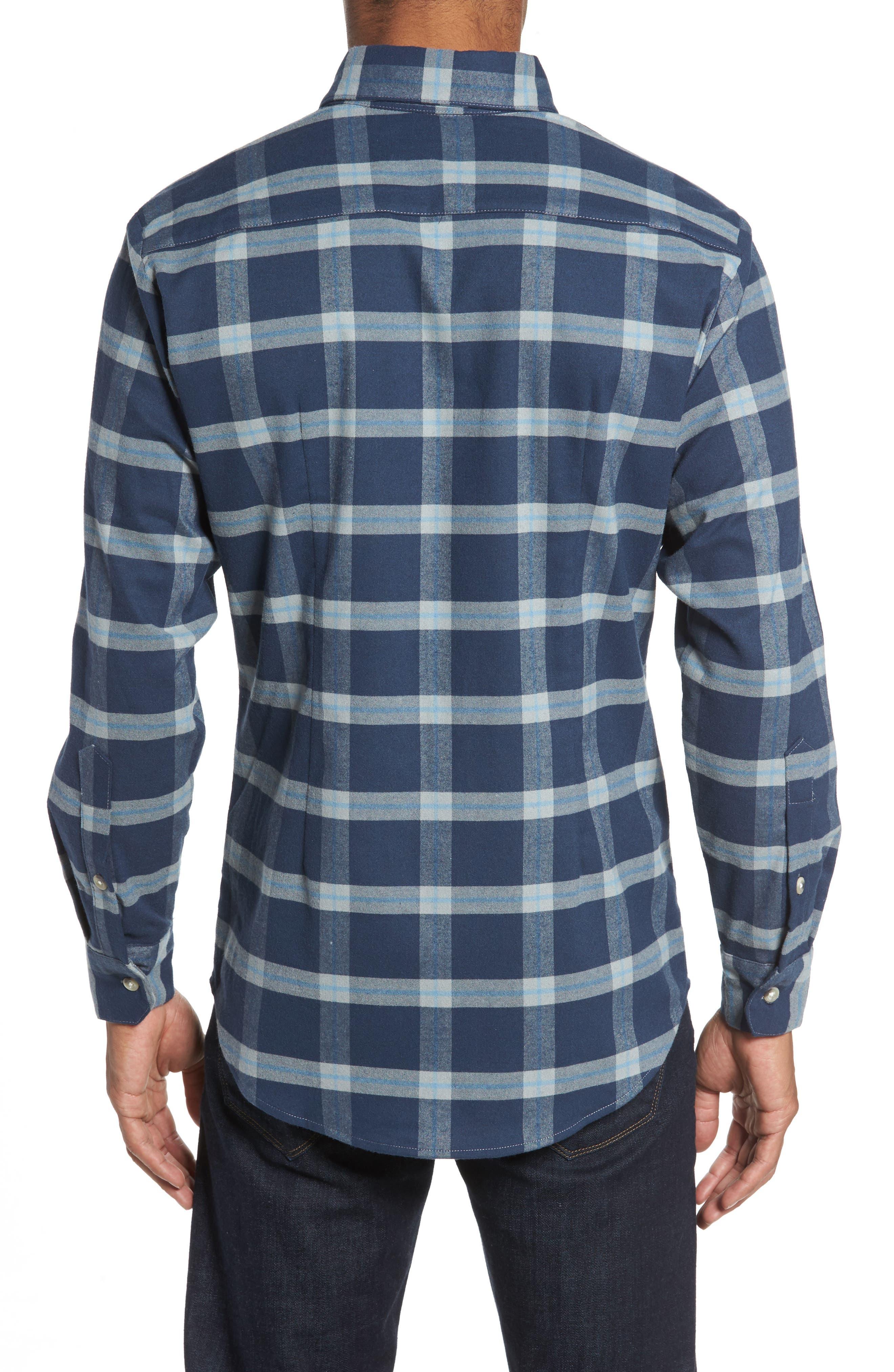 Fairview Slim Fit Plaid Flannel Sport Shirt,                             Alternate thumbnail 2, color,                             Blue