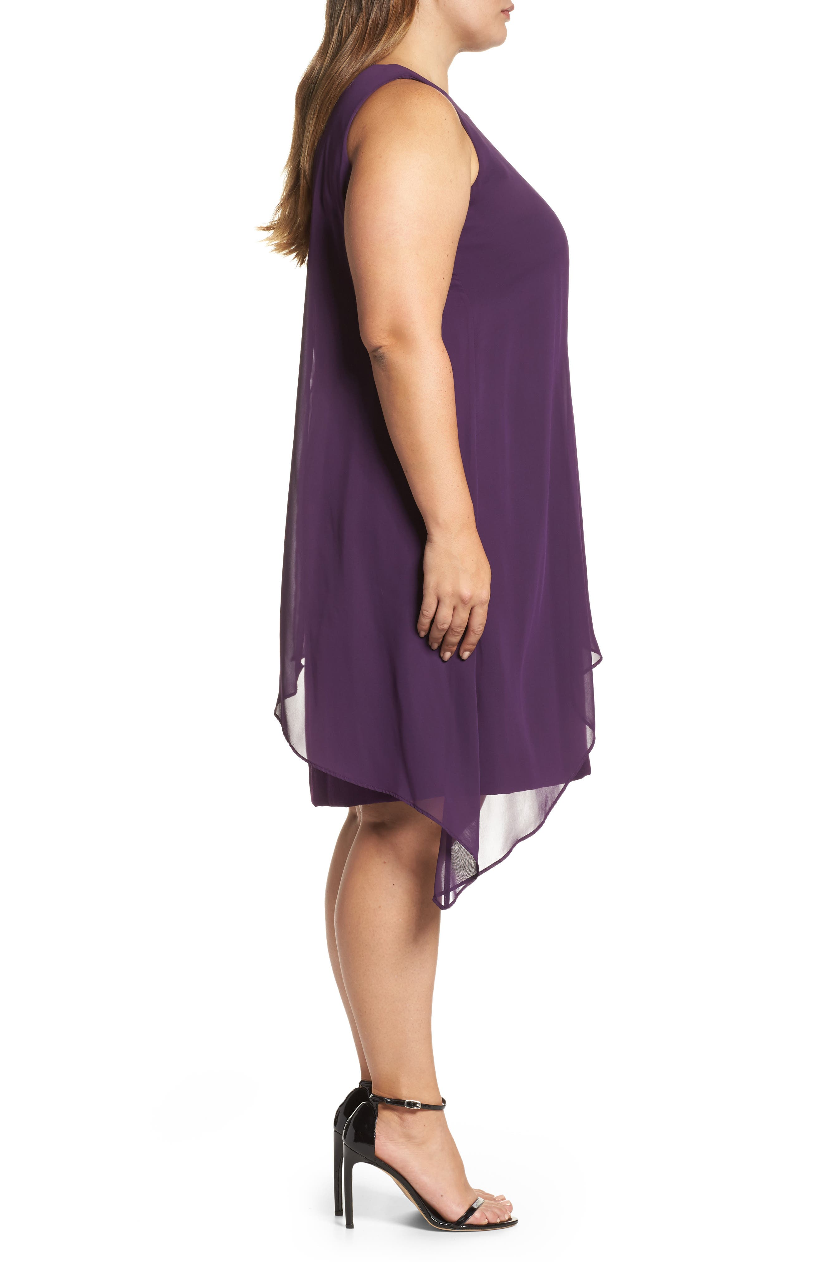 Alternate Image 3  - Tahari Chiffon Overlay Shift Dress (Plus Size)