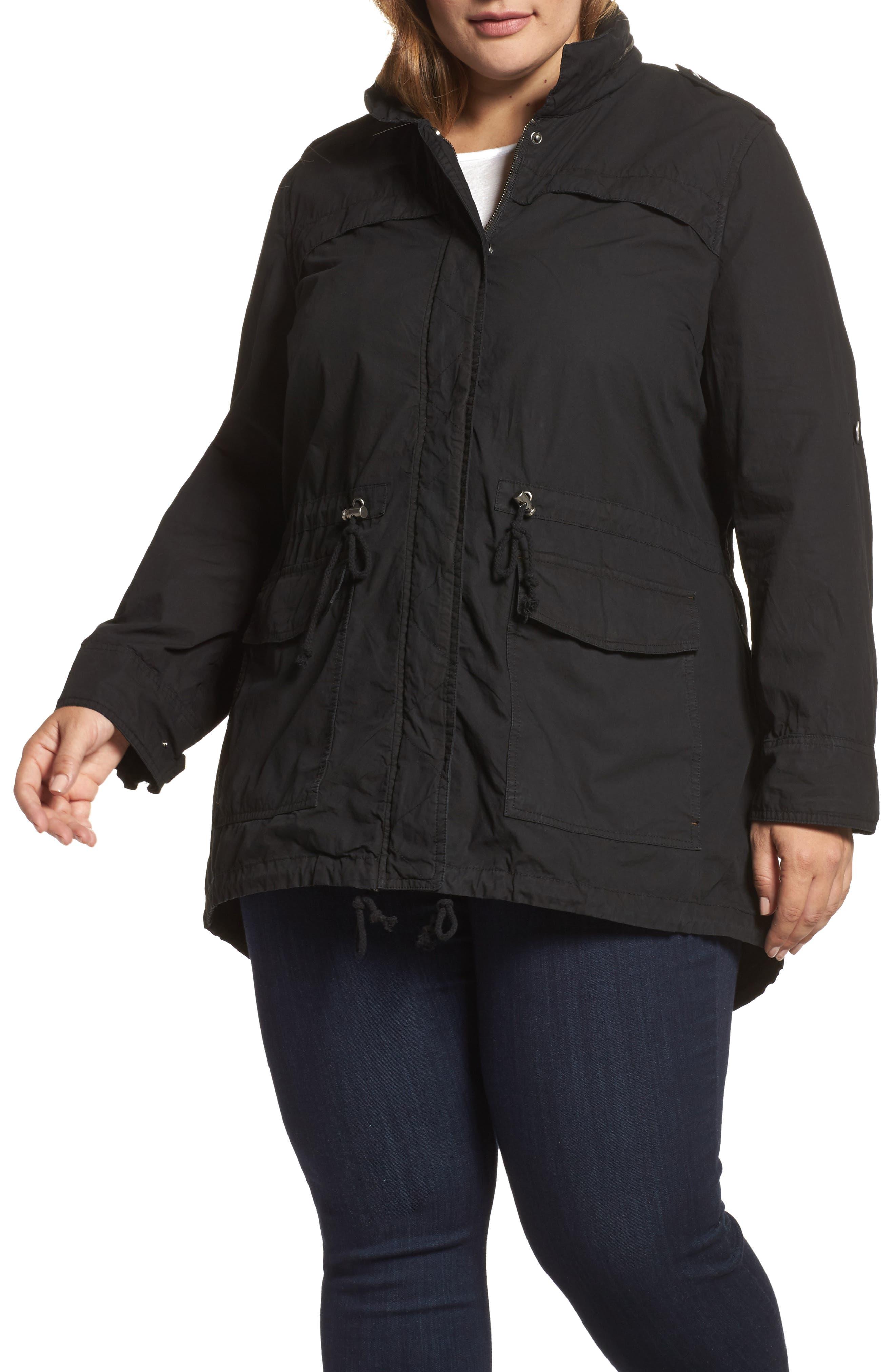 Alternate Image 1 Selected - Levi's® Parachute Hooded Cotton Utility Jacket (Plus Size)