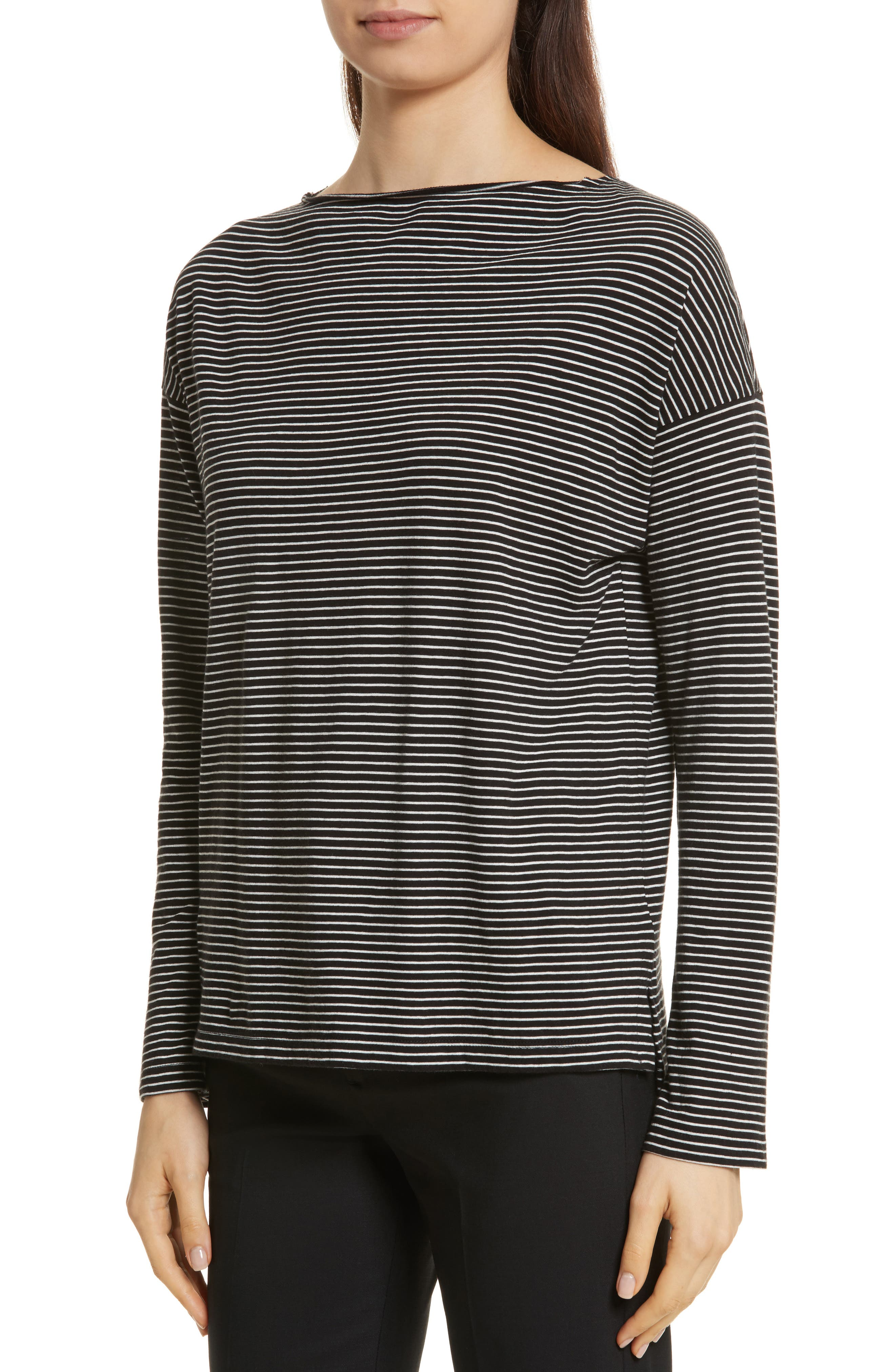 Stripe Boatneck Tee,                             Alternate thumbnail 4, color,                             Black/ Vanilla