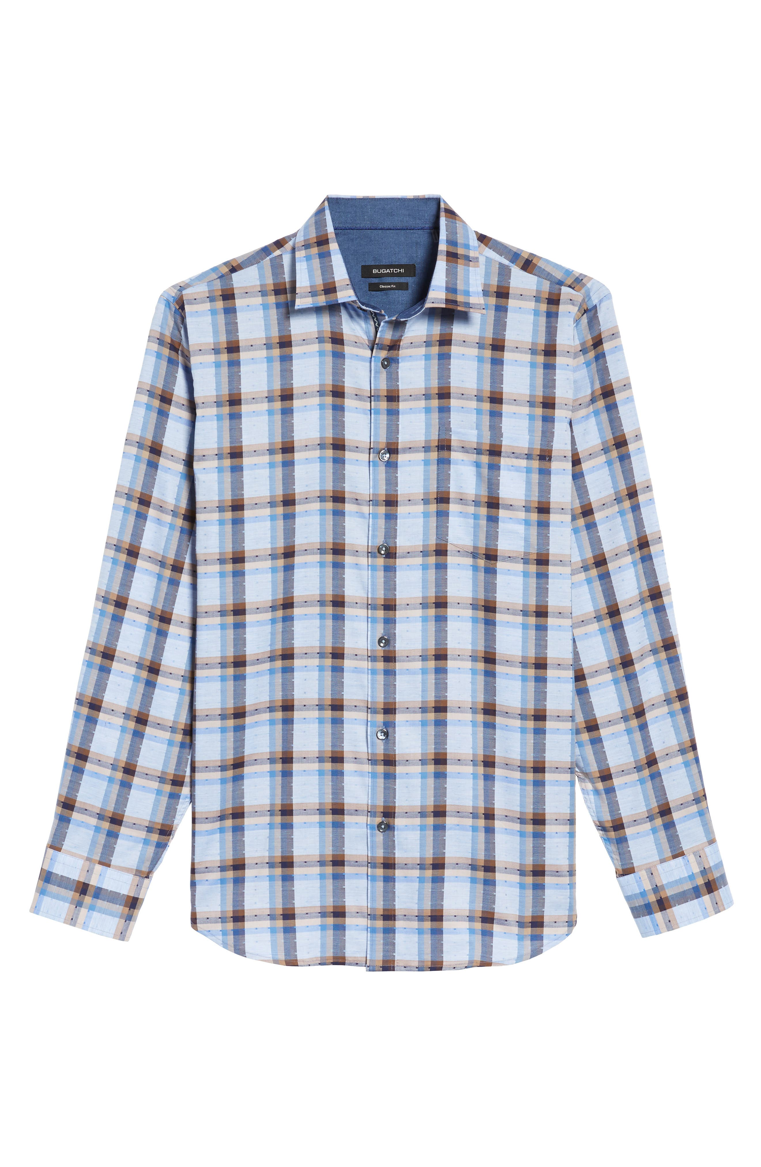 Classic Fit Dobby Check Sport Shirt,                             Alternate thumbnail 6, color,                             Sky