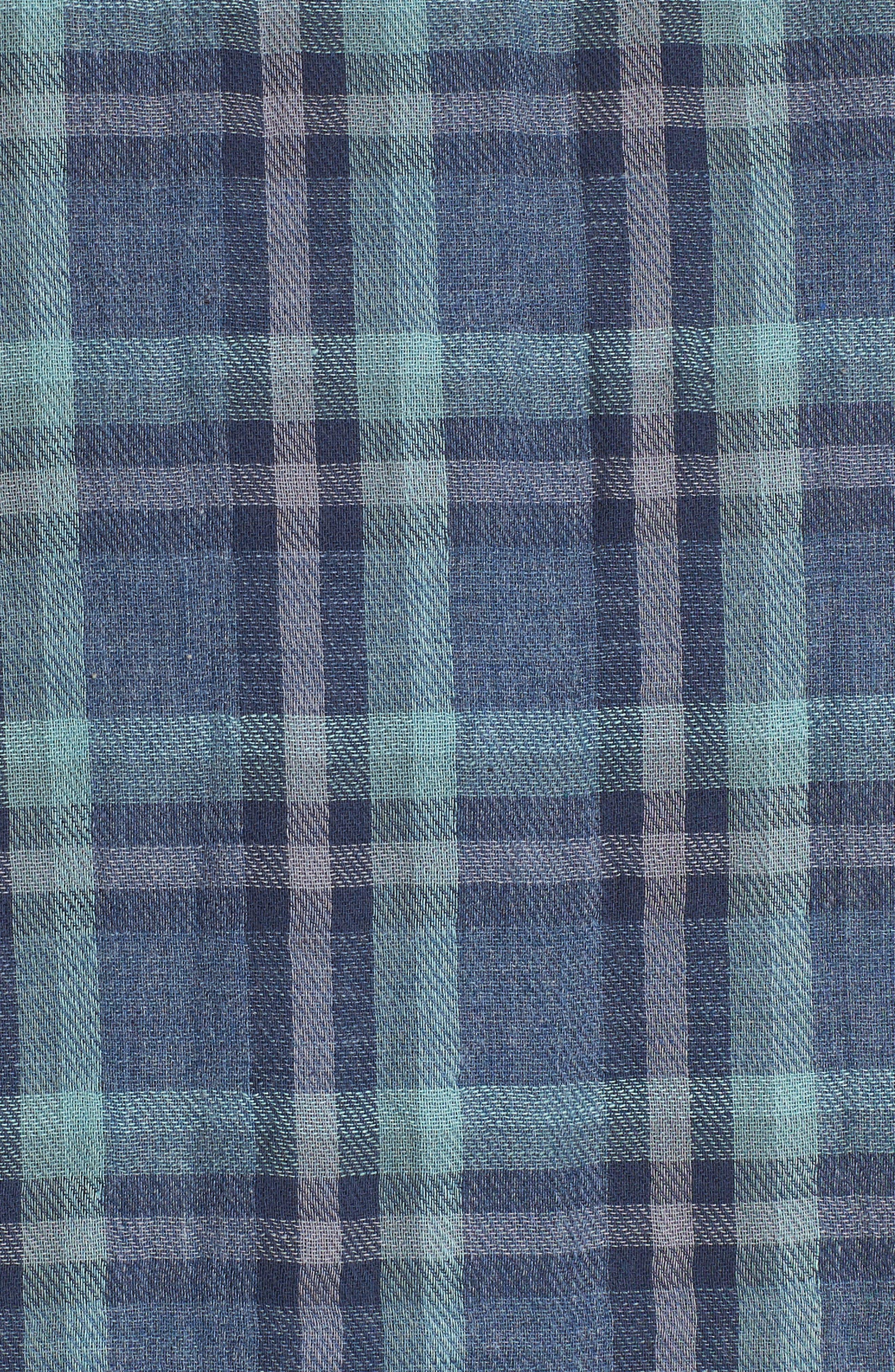 Smith Double Cloth Plaid Sport Shirt,                             Alternate thumbnail 5, color,                             Blue Navy Seafoam