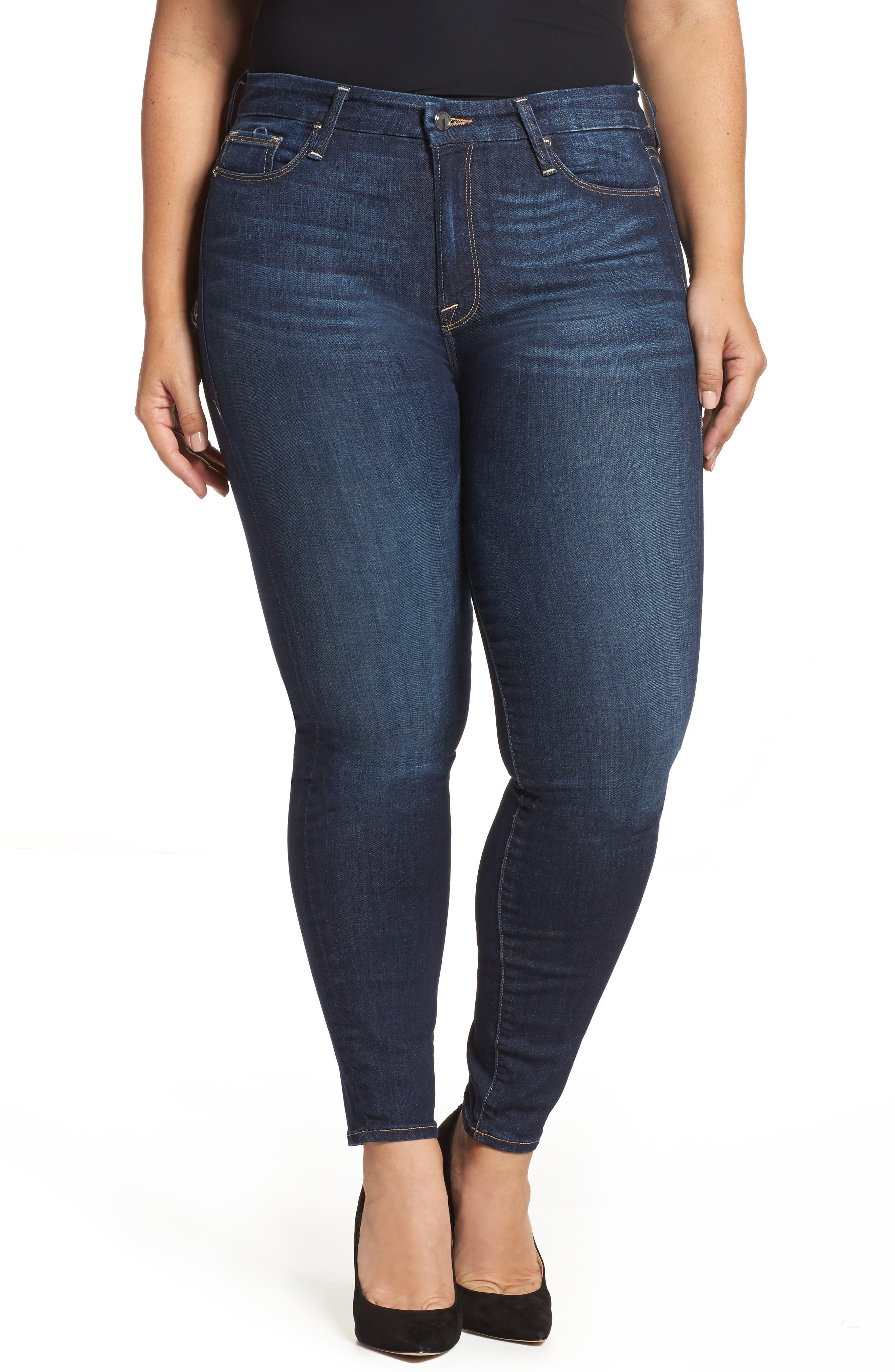 Good American Good Legs High Waist Skinny Jeans (Blue 091) (Regular & Plus Size)