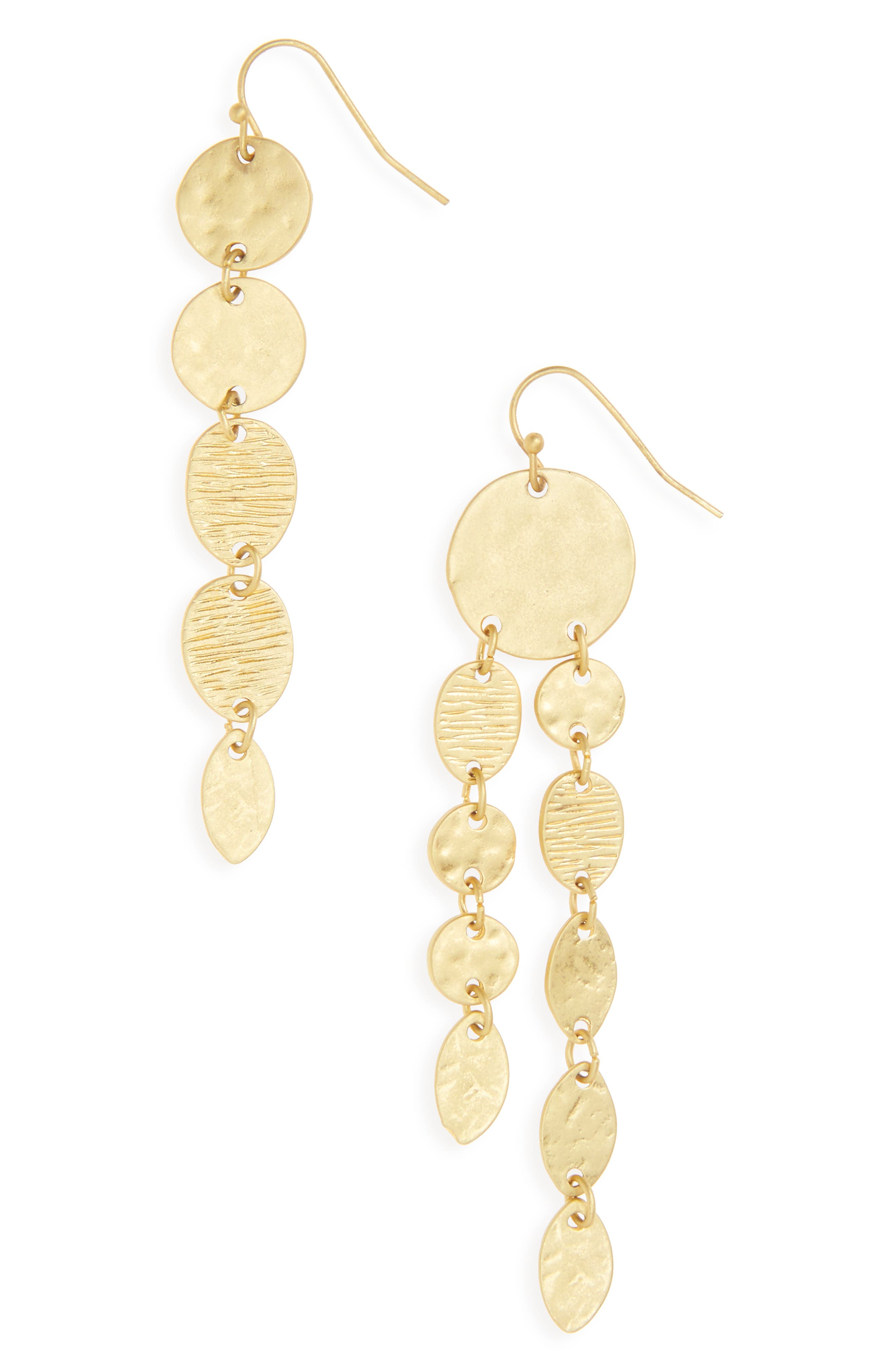 Textured Mismatch Drop Earrings,                         Main,                         color, Worn Gold