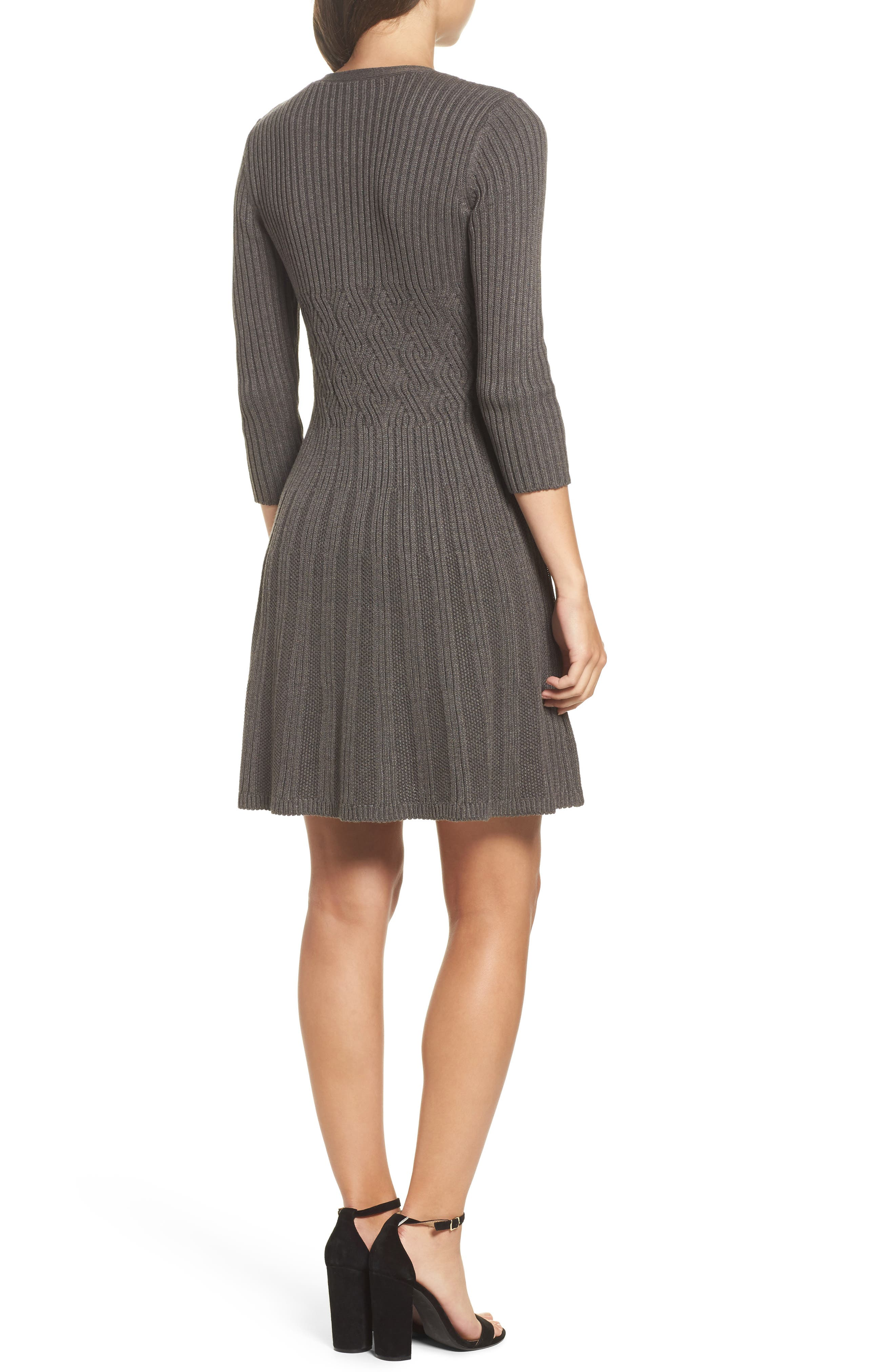 Ribbed Fit & Flare Dress,                             Alternate thumbnail 2, color,                             Grey