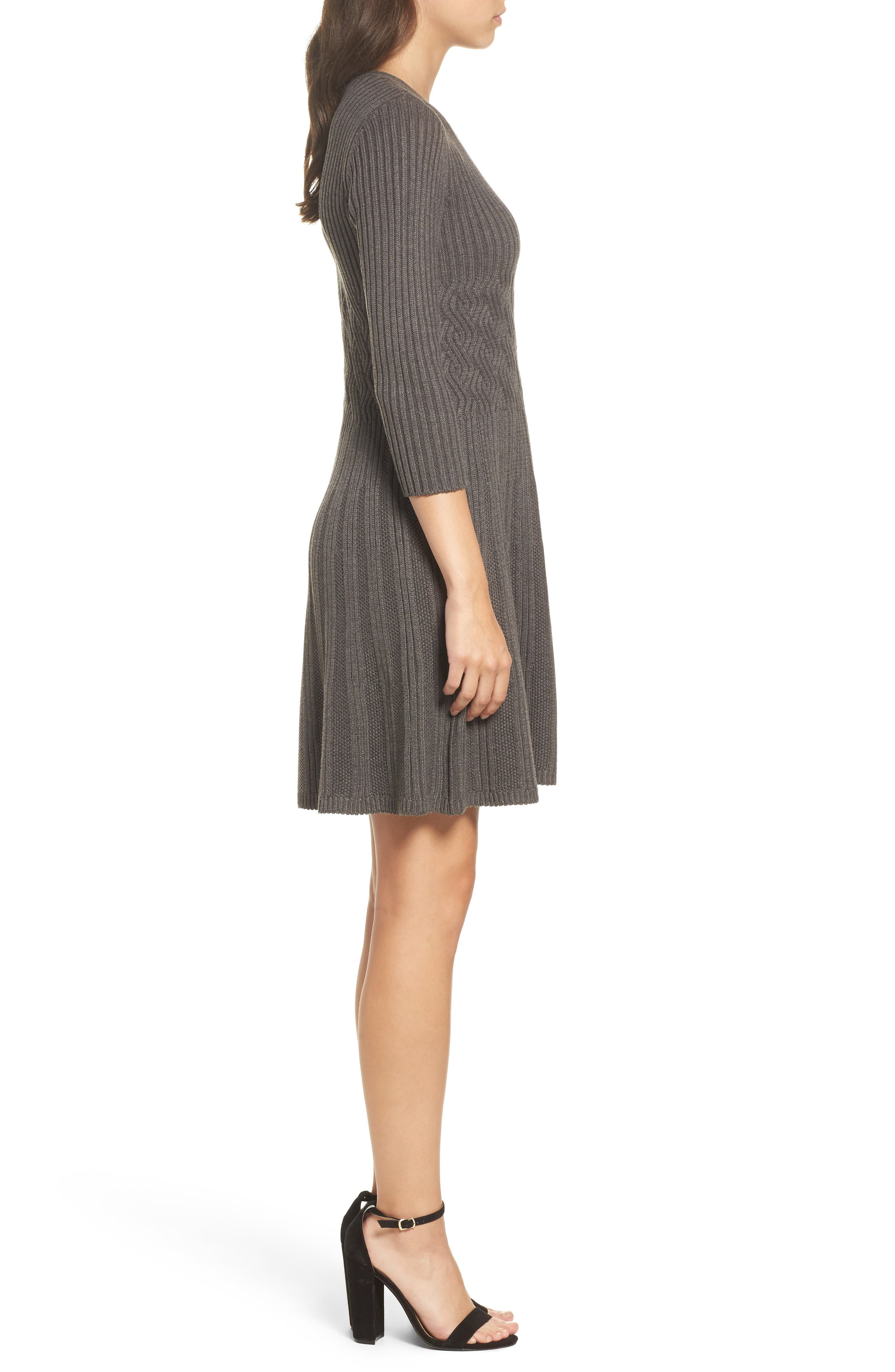 Ribbed Fit & Flare Dress,                             Alternate thumbnail 3, color,                             Grey