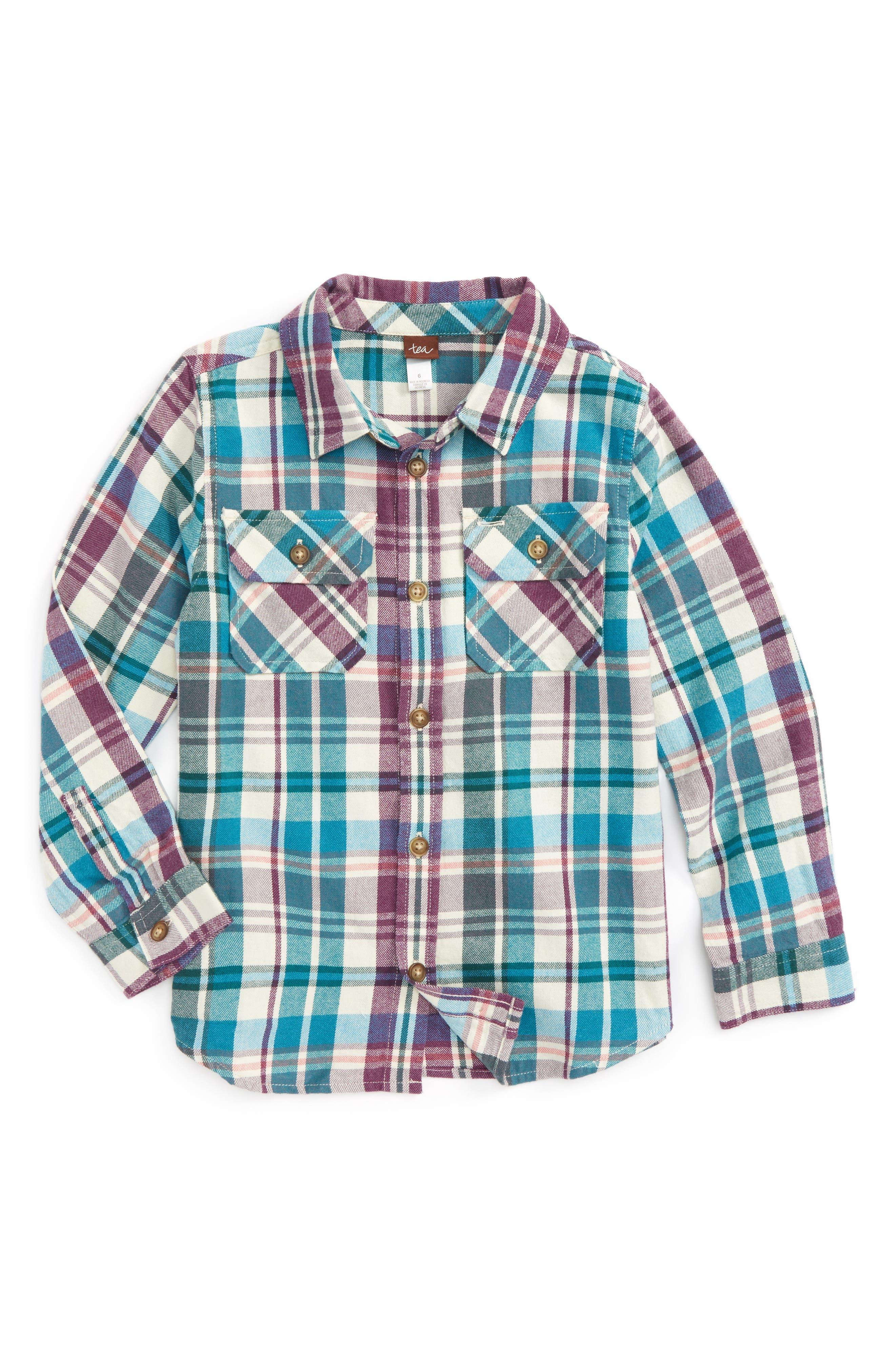 Beaufort Plaid Flannel Shirt,                         Main,                         color, Creme