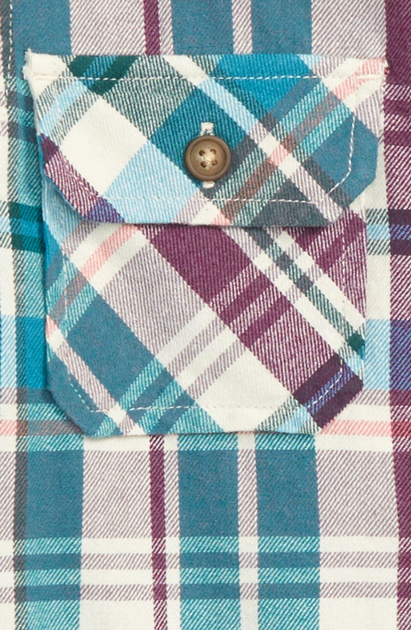 Beaufort Plaid Flannel Shirt,                             Alternate thumbnail 2, color,                             Creme