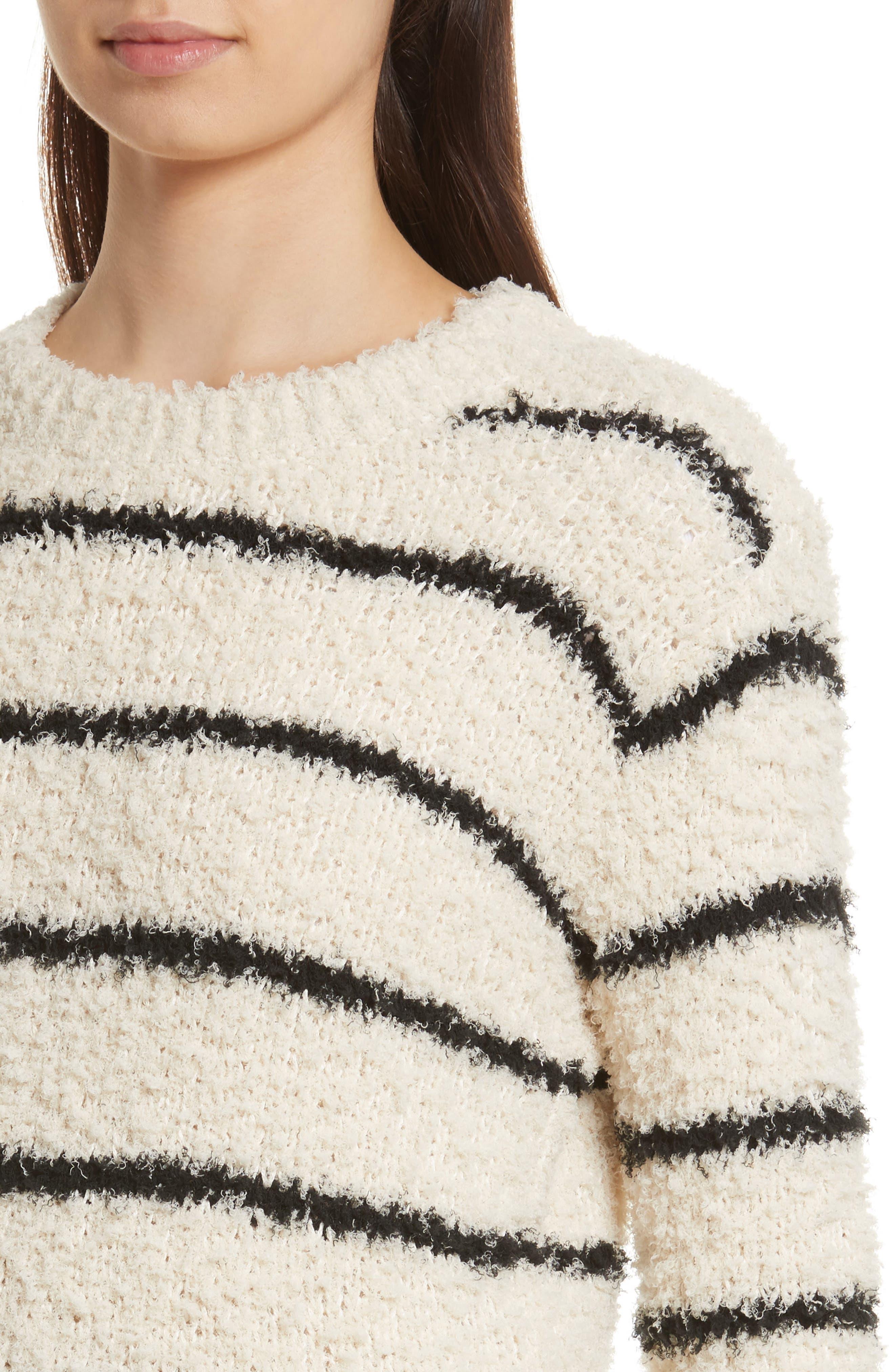 Fuzzy Stripe Sweater,                             Alternate thumbnail 4, color,                             Cream/ Black