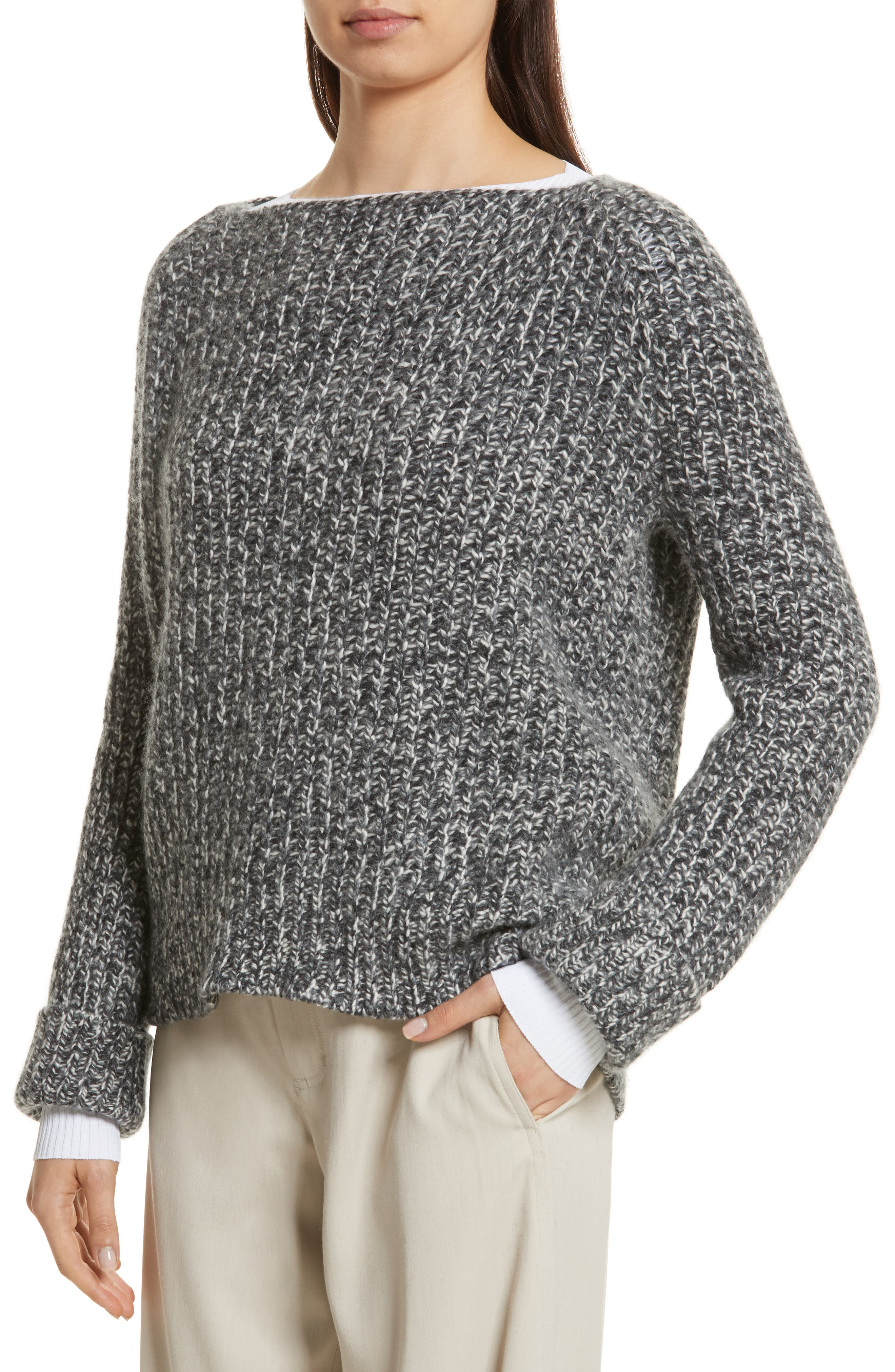 Marled Wool Blend Sweater,                             Alternate thumbnail 4, color,                             Grey