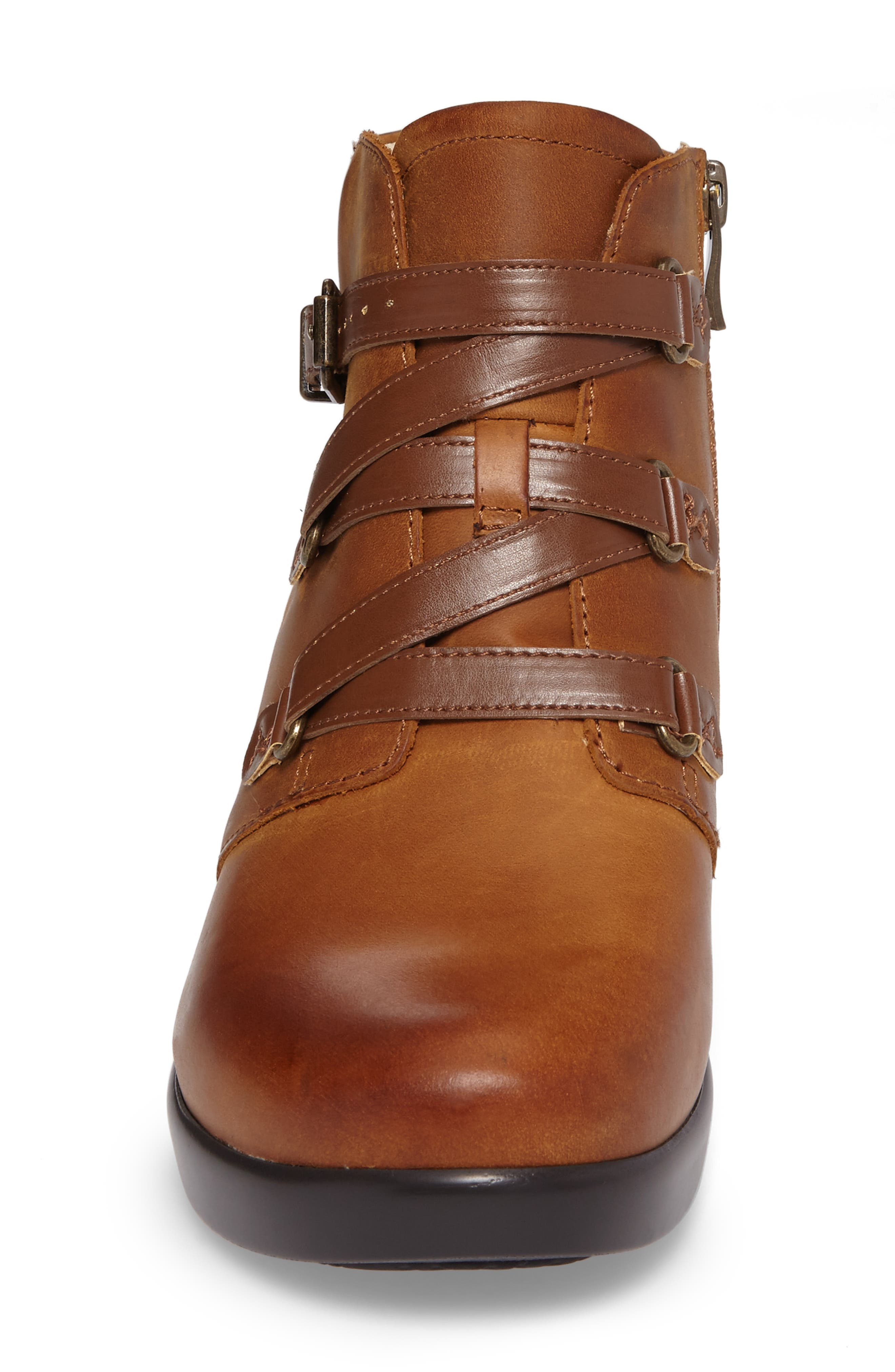 Indi Demi Wedge Bootie,                             Alternate thumbnail 4, color,                             Walnut Leather