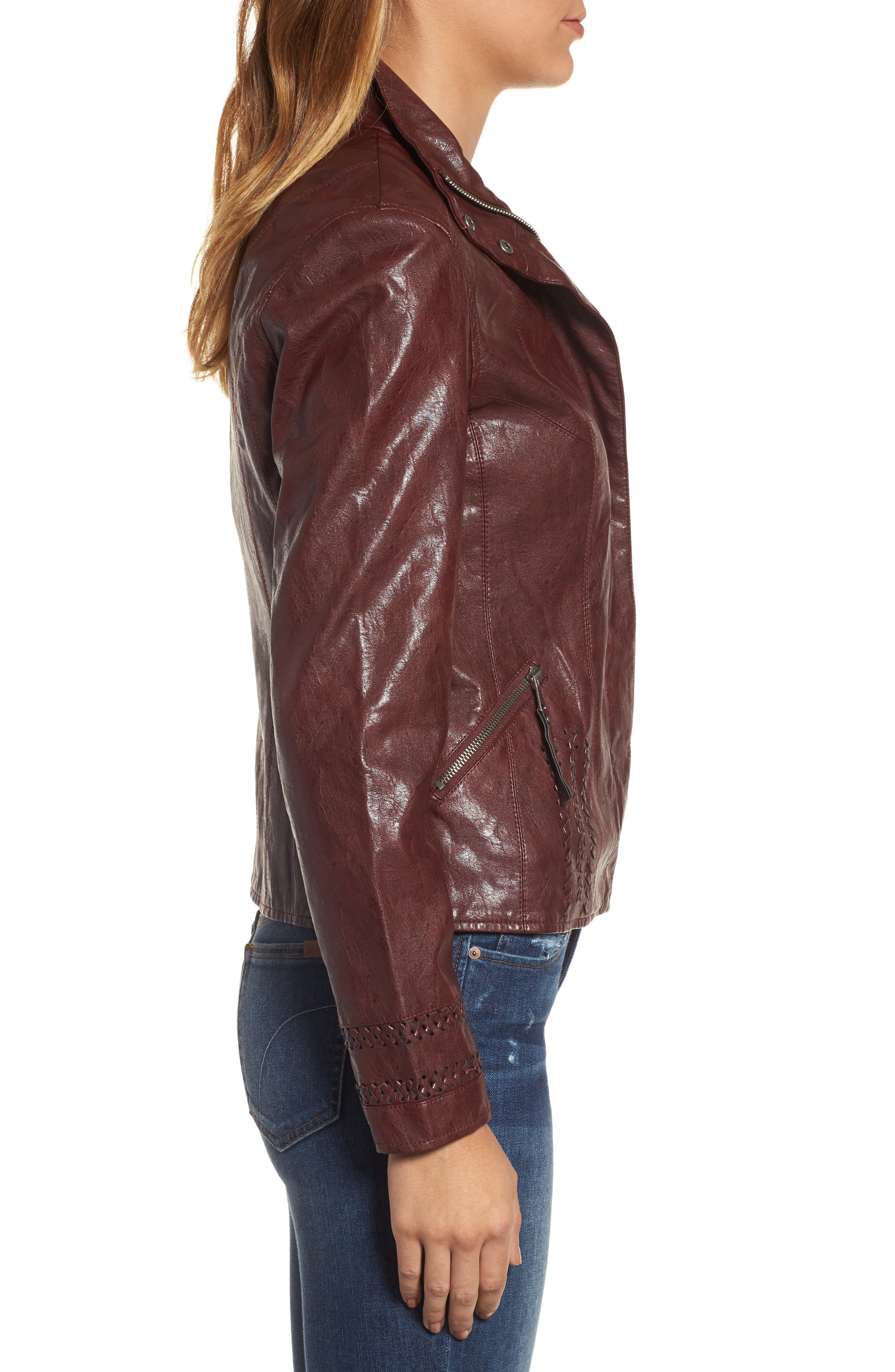 Brittney Faux Leather Jacket,                             Alternate thumbnail 3, color,                             Burgundy