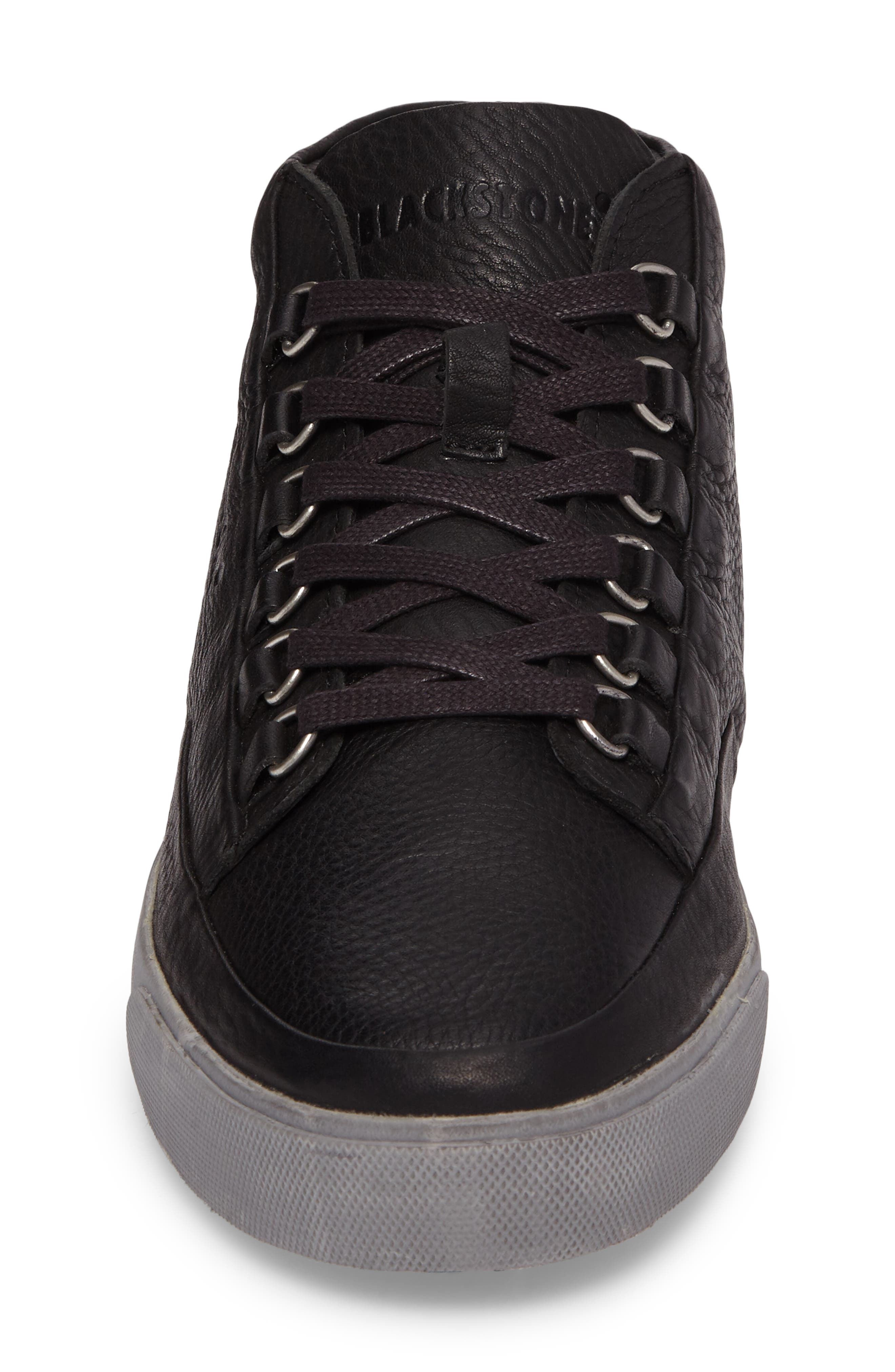 KM 02 Sneaker with Genuine Shearling Lining,                             Alternate thumbnail 4, color,                             Black Leather