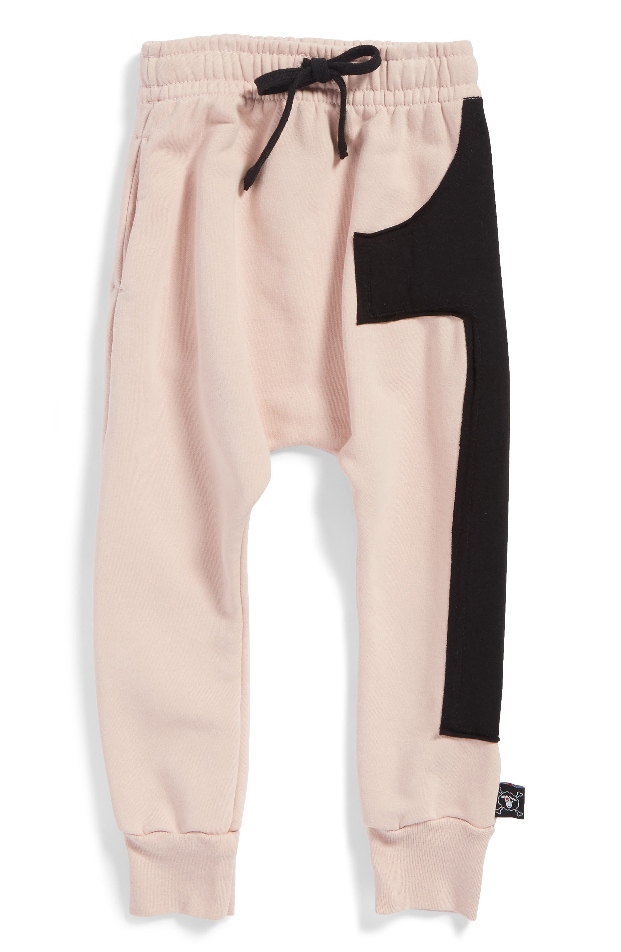 Puffy Number Baggy Pants,                         Main,                         color, Powder Pink