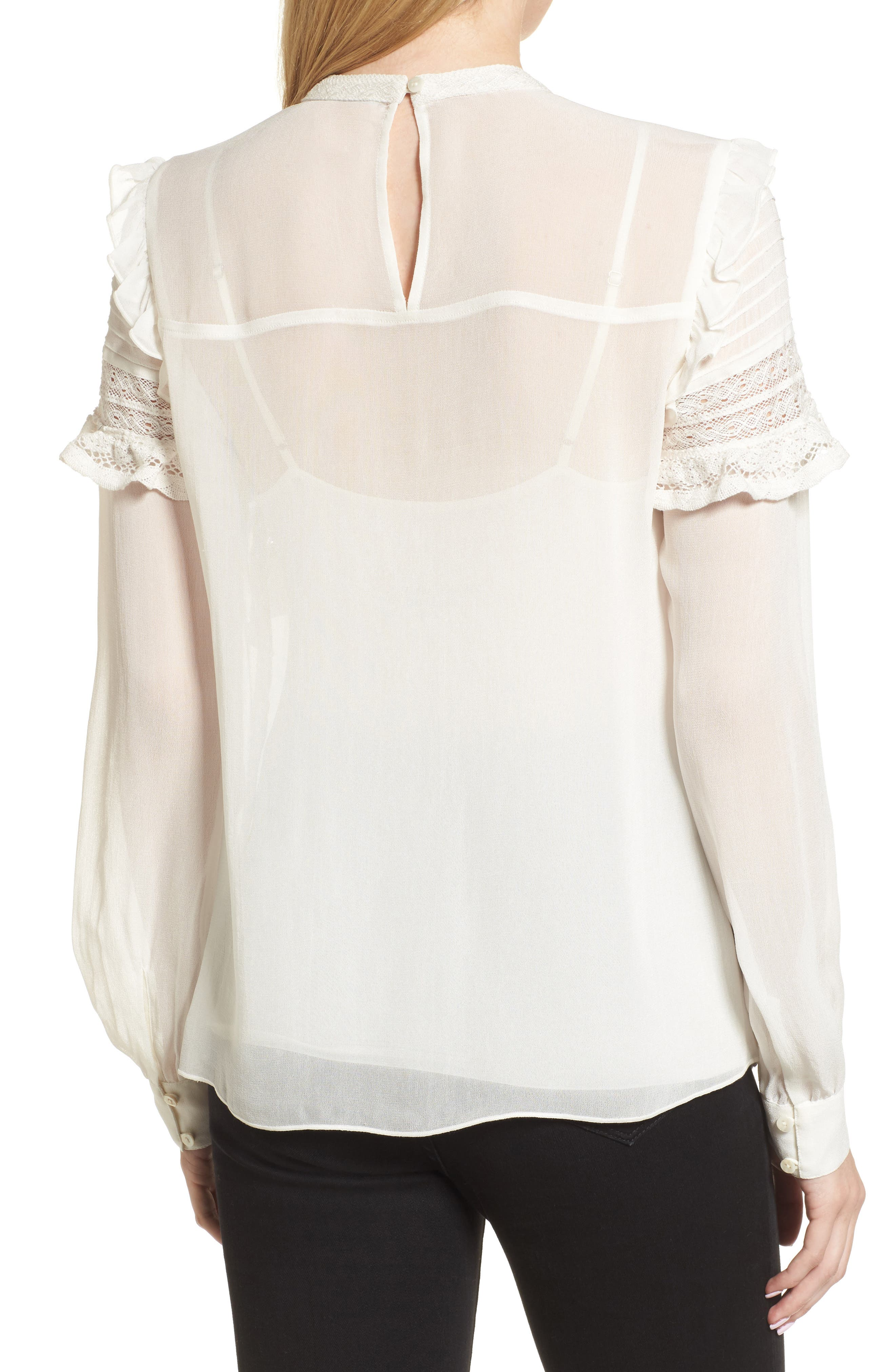Ruffle Lace Top,                             Alternate thumbnail 3, color,                             Ivory