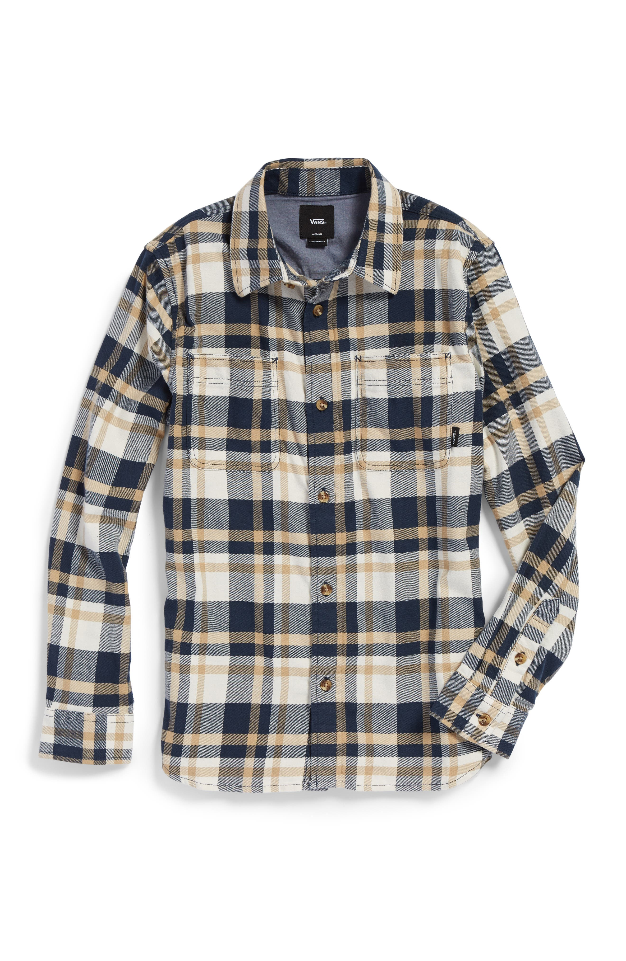Banfield Plaid Flannel Shirt,                             Main thumbnail 1, color,                             Dress Blues/ Marshmallow