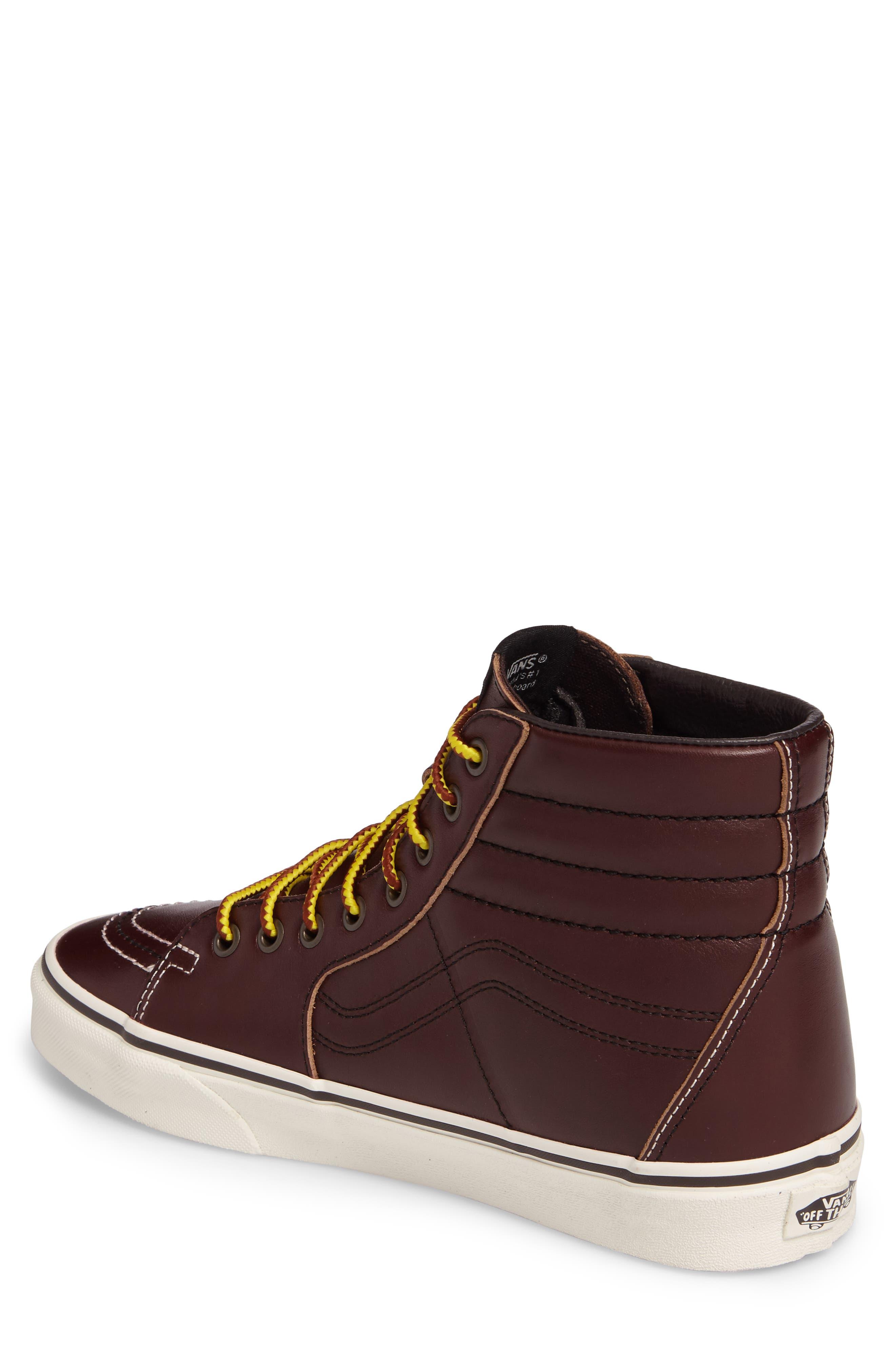 Sk8-Hi Sneaker,                             Alternate thumbnail 2, color,                             Rum Raisin/Marshmallow Leather