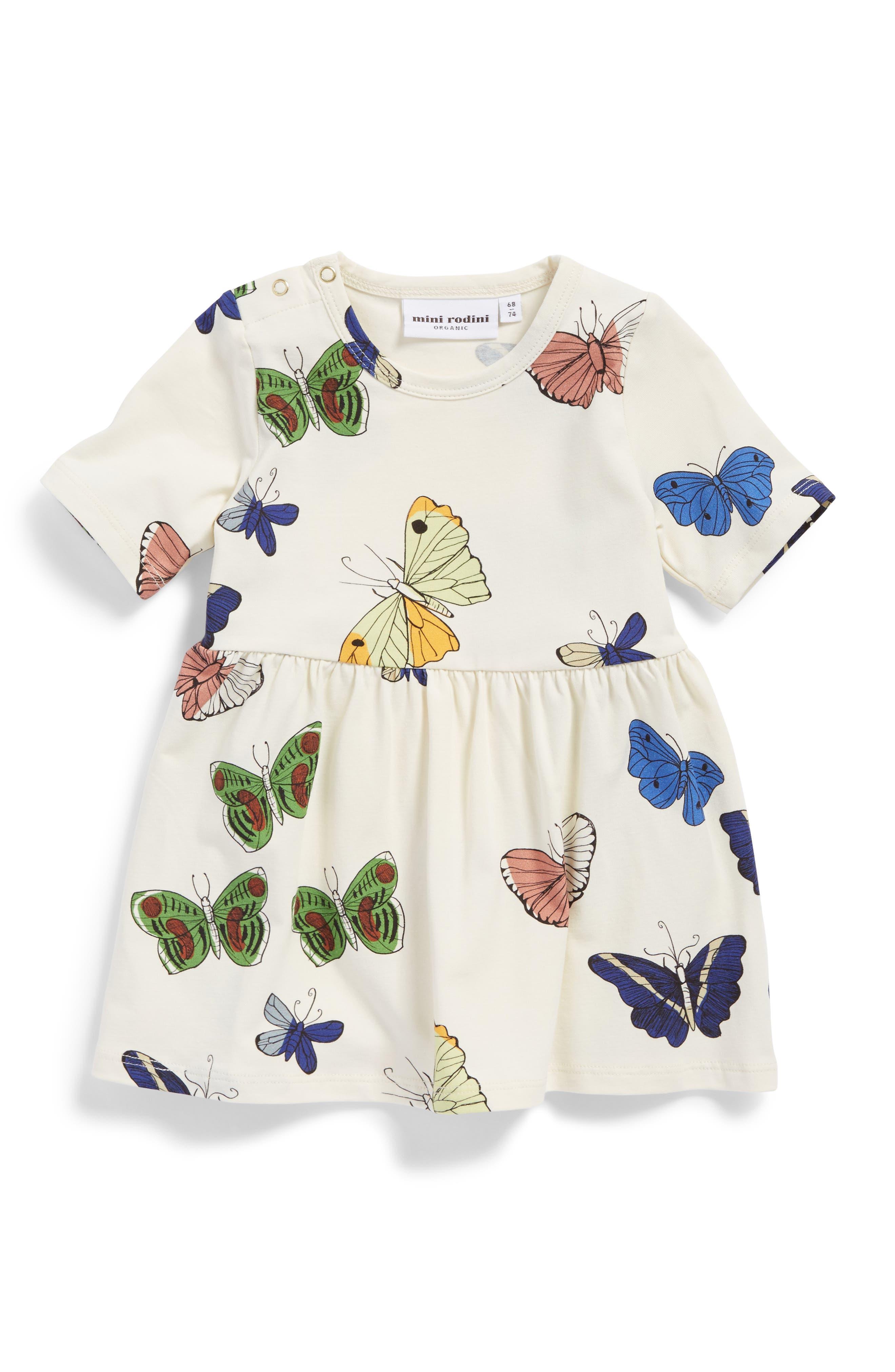 Main Image - Mini Rodini Butterflies Organic Cotton Dress (Baby Girls)