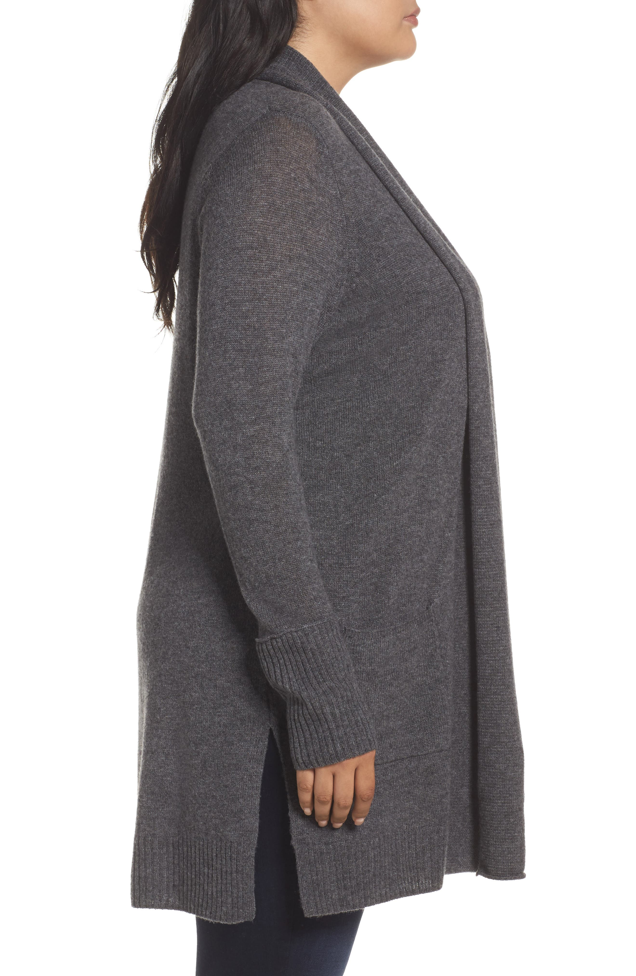 Pocket Cardigan,                             Alternate thumbnail 3, color,                             Grey Charcoal Heather