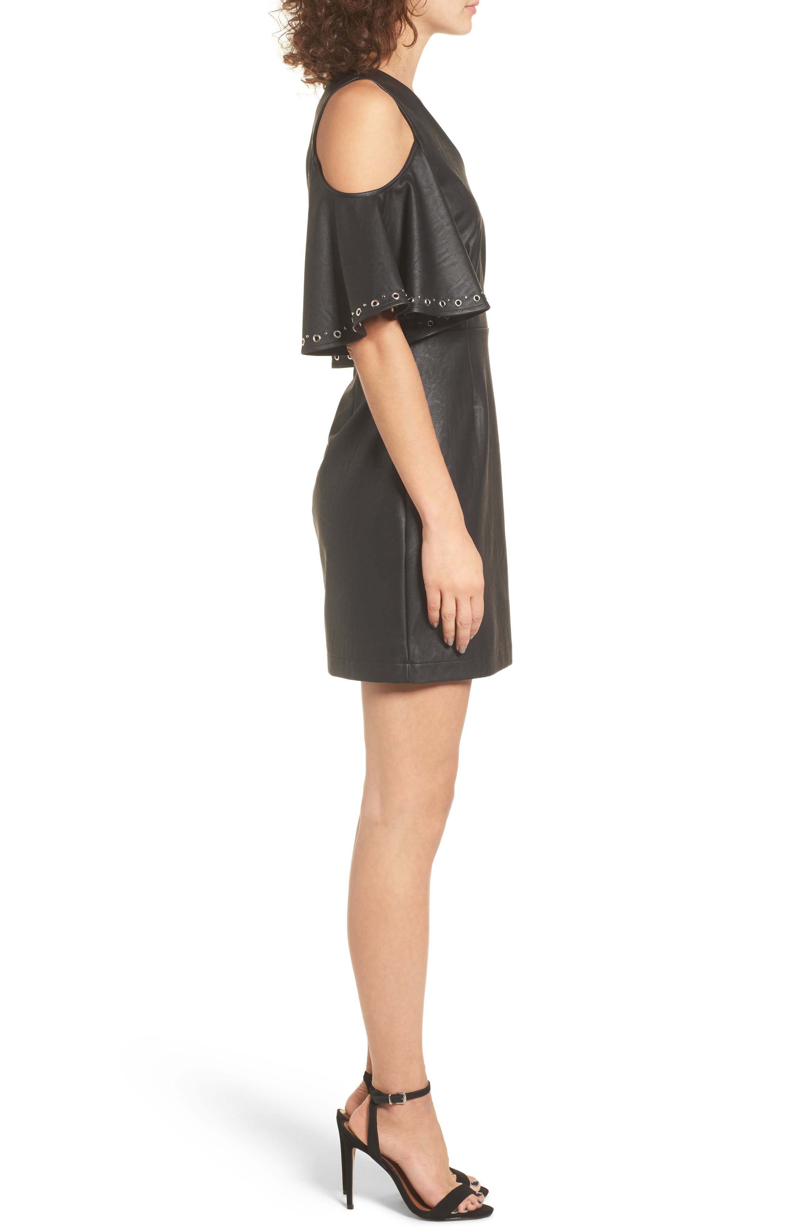 Dakota Cold Shoulder Minidress,                             Alternate thumbnail 4, color,                             Black