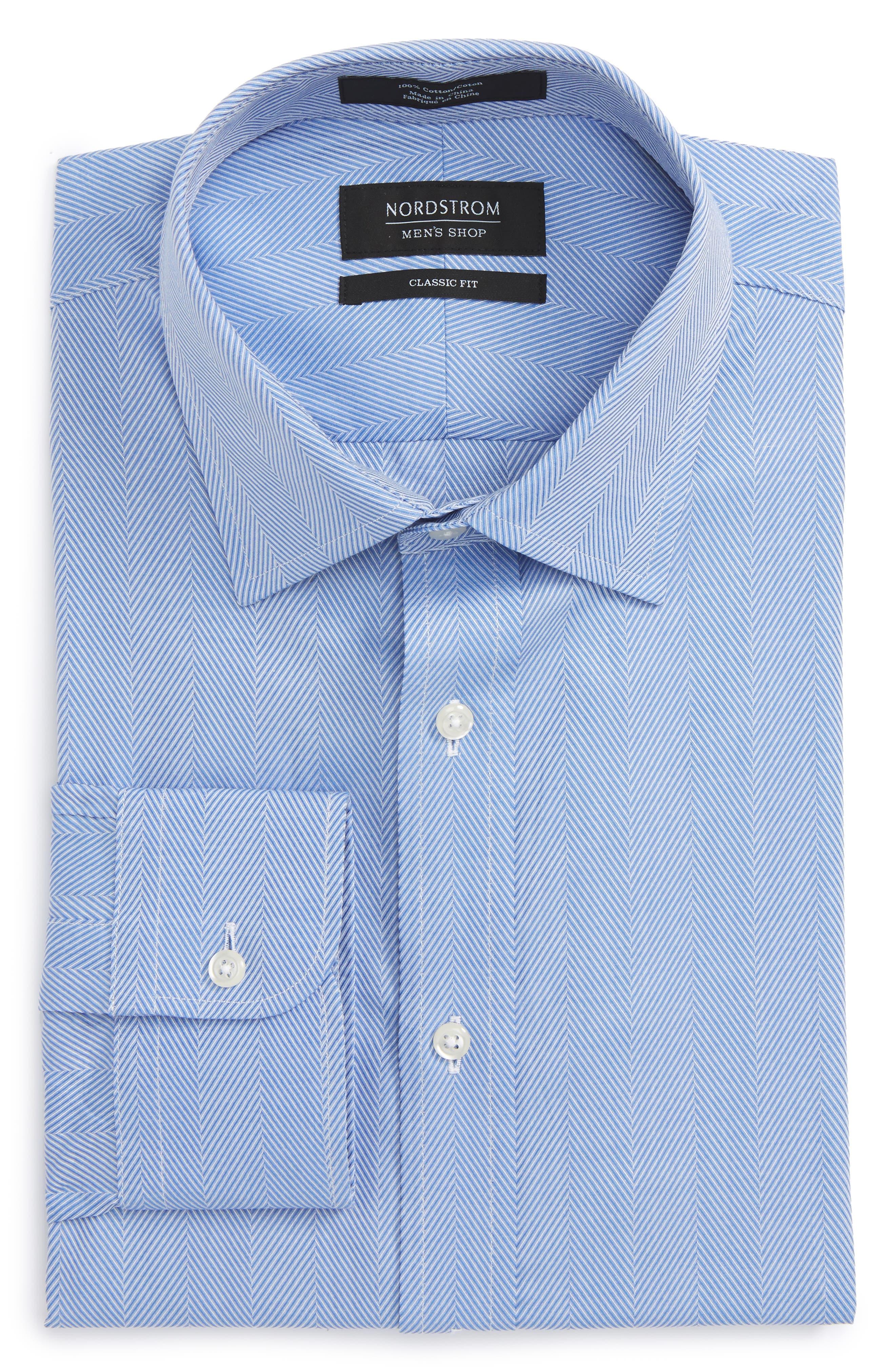 Alternate Image 1 Selected - Nordstrom Men's Shop Classic Fit Herringbone Dress Shirt