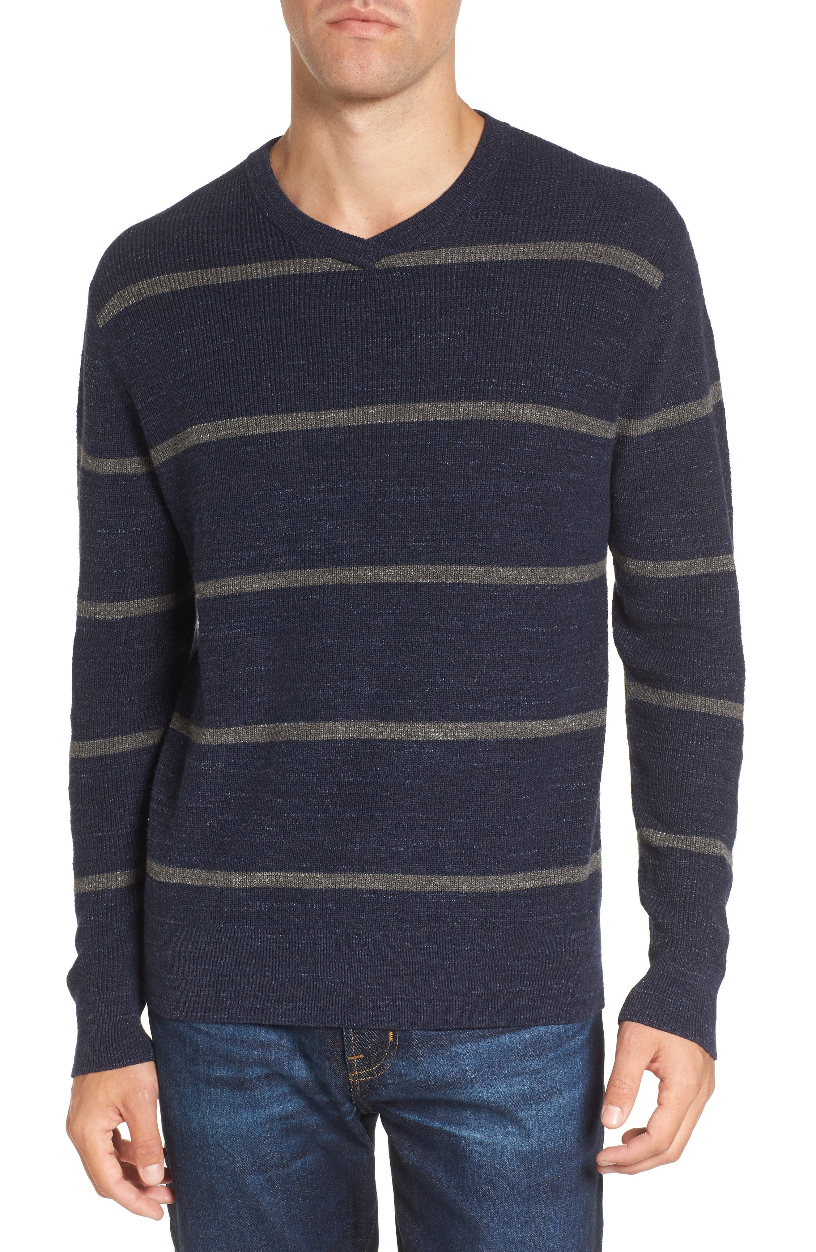Ardsley Stripe V-Neck Sweater,                             Main thumbnail 1, color,                             Navy/Light Charcoal