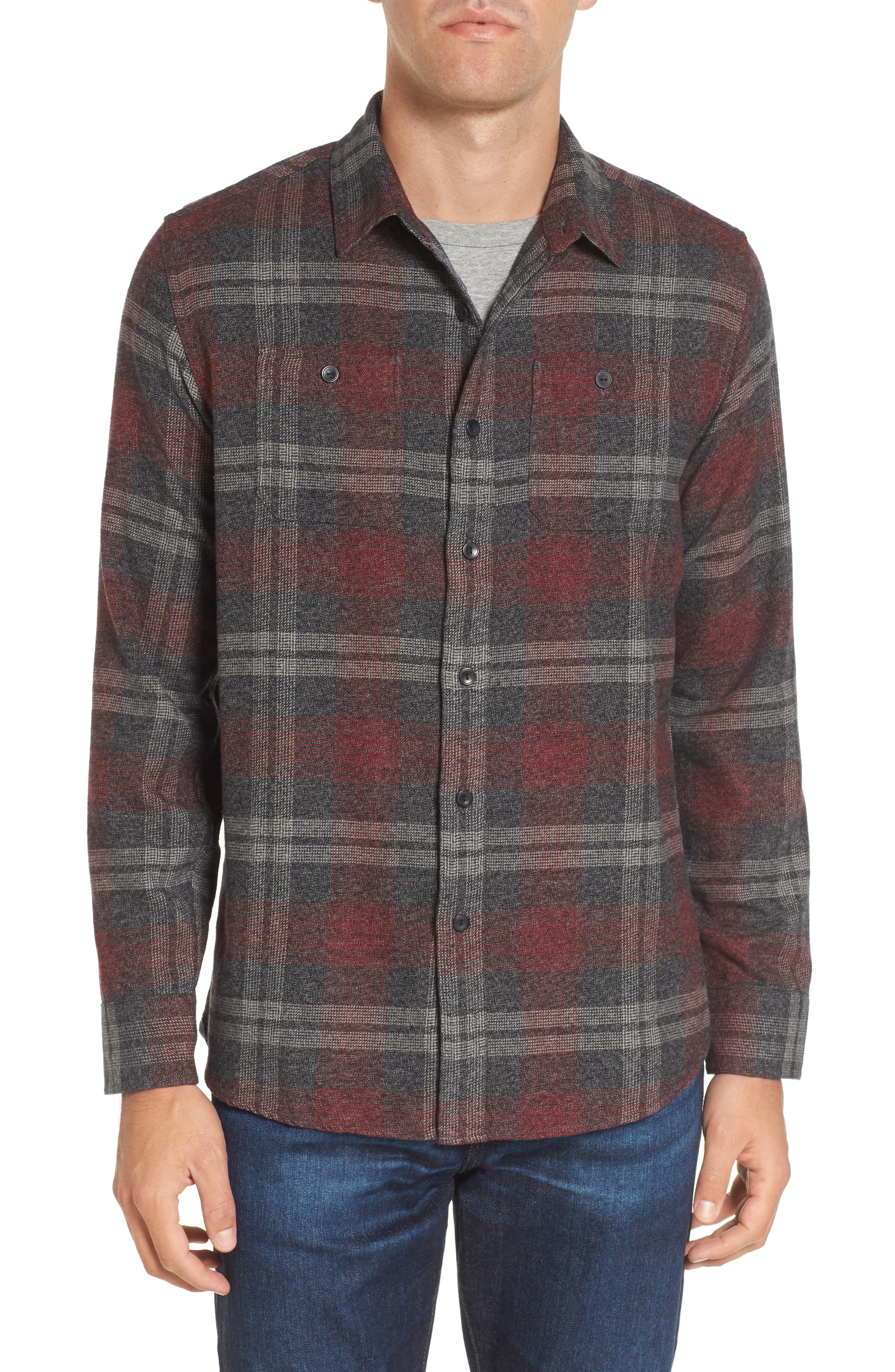 Marston Lux Plaid Flannel Shirt,                         Main,                         color, Charcoal Burgundy