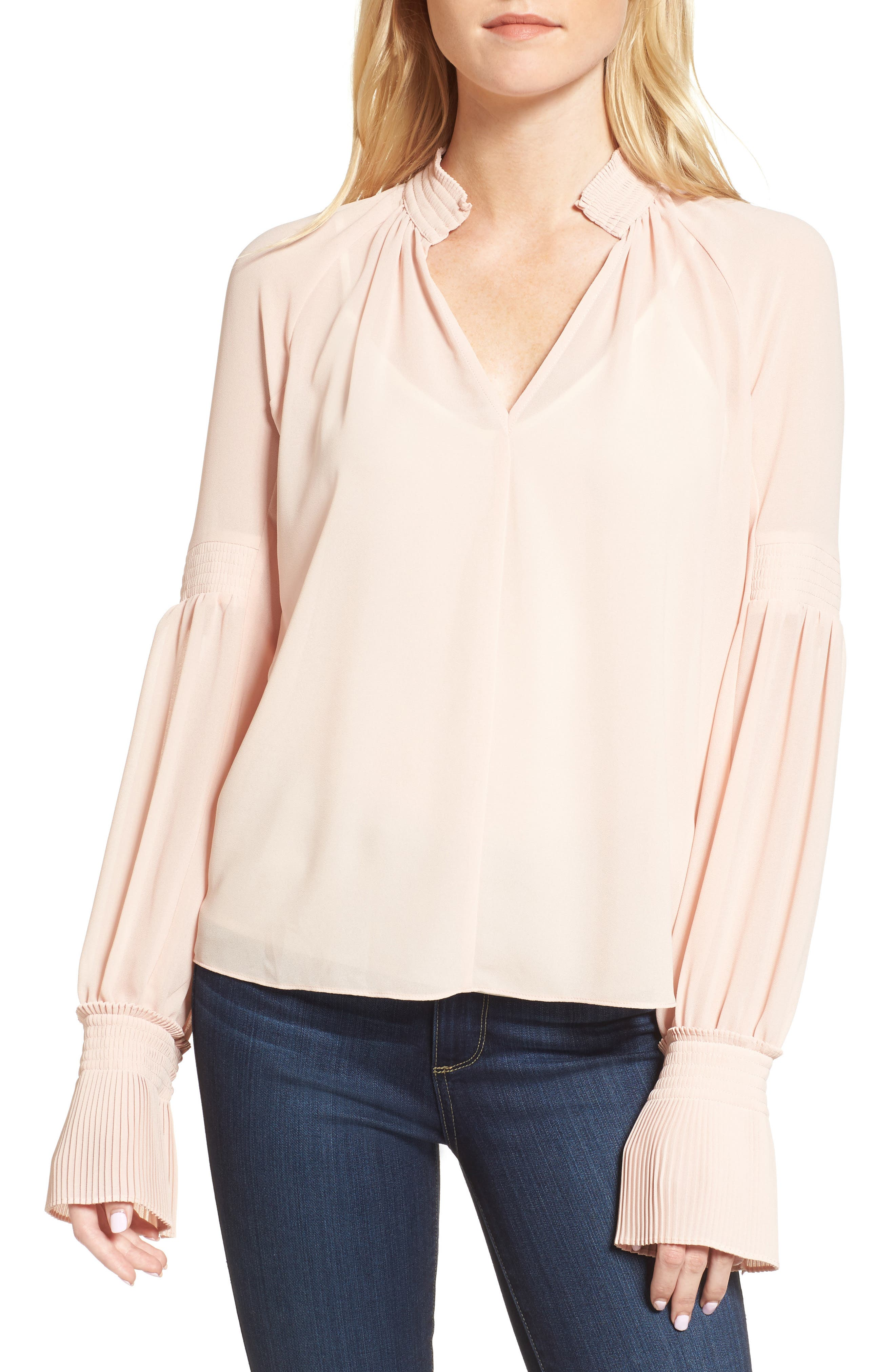 Flare Cuff Top,                         Main,                         color, Pink Peach