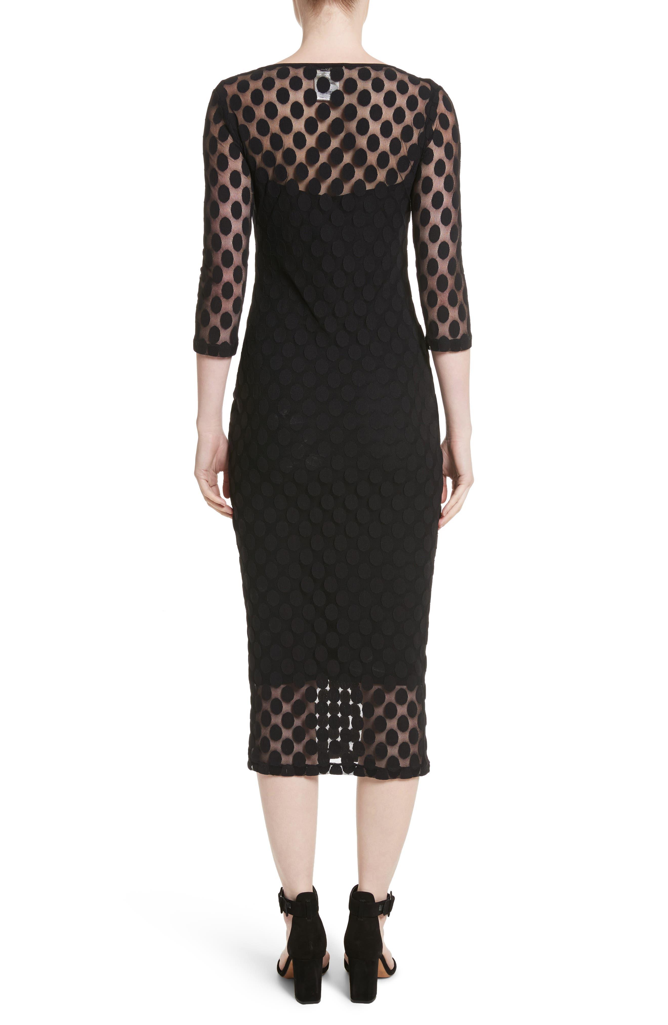 Dot Print Tulle Midi Dress,                             Alternate thumbnail 2, color,                             Nero