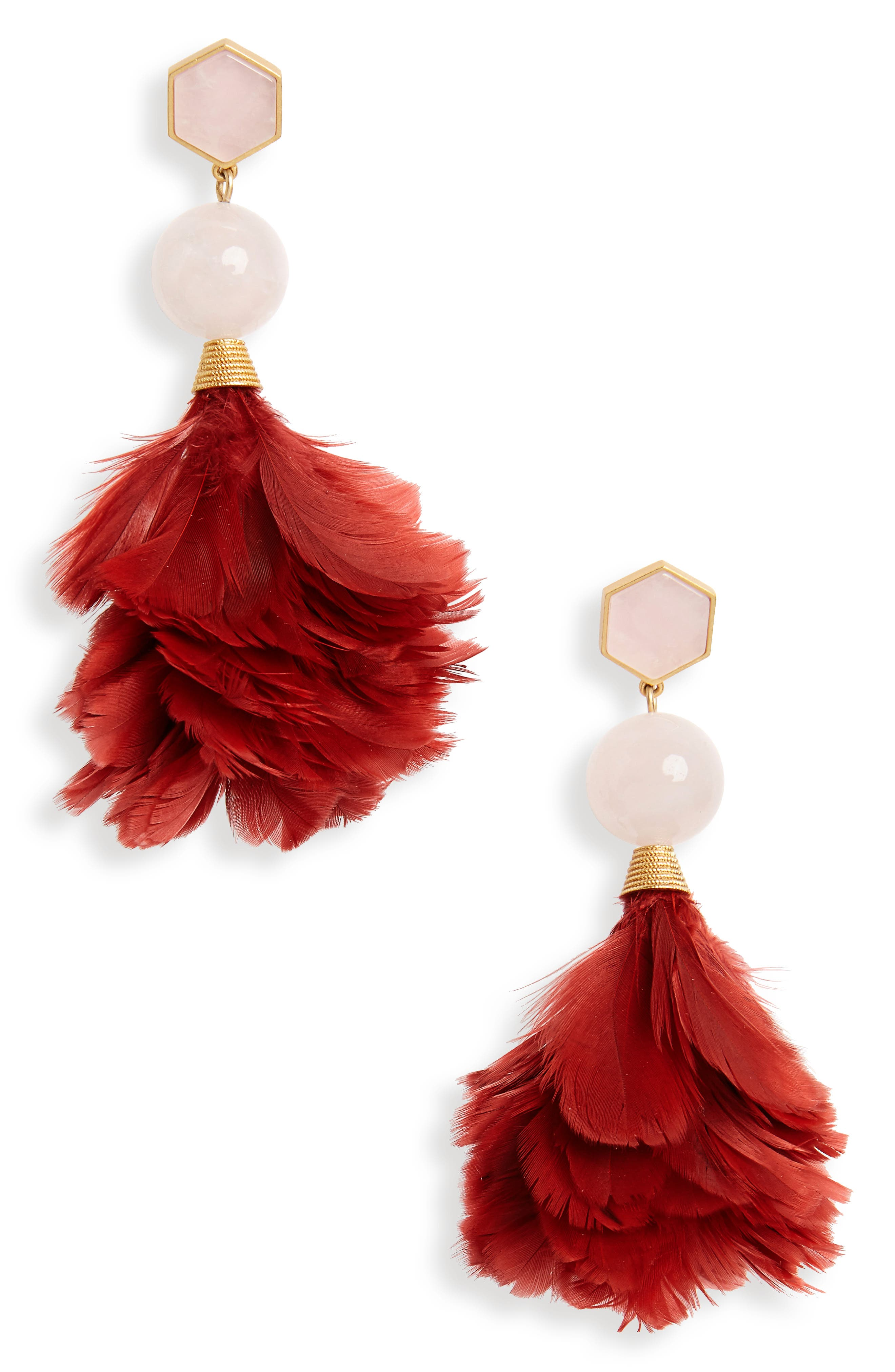 Feather Drop Earrings,                             Main thumbnail 1, color,                             Tuscan Wine / Pink Quartz