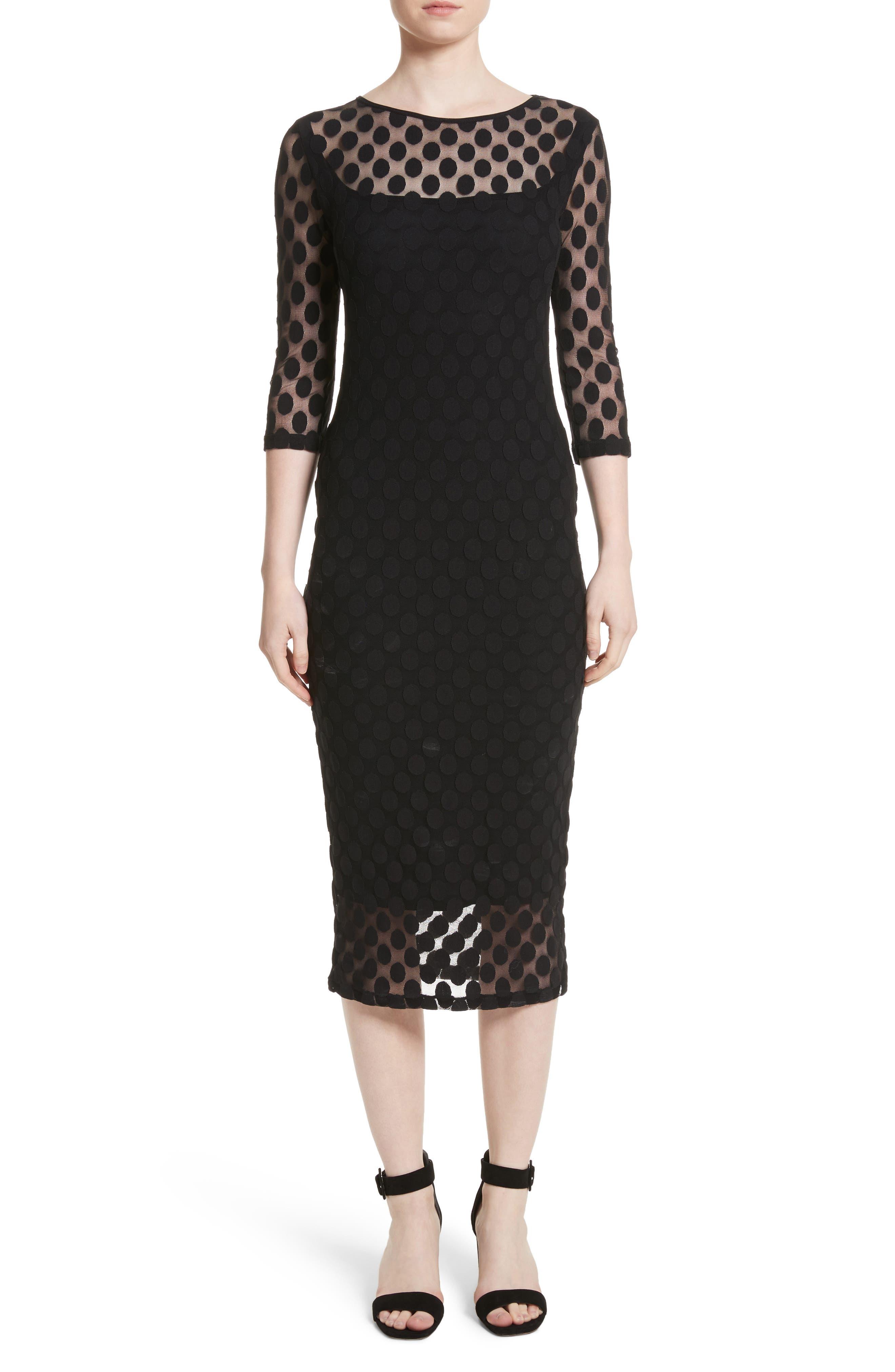 Dot Print Tulle Midi Dress,                             Main thumbnail 1, color,                             Nero
