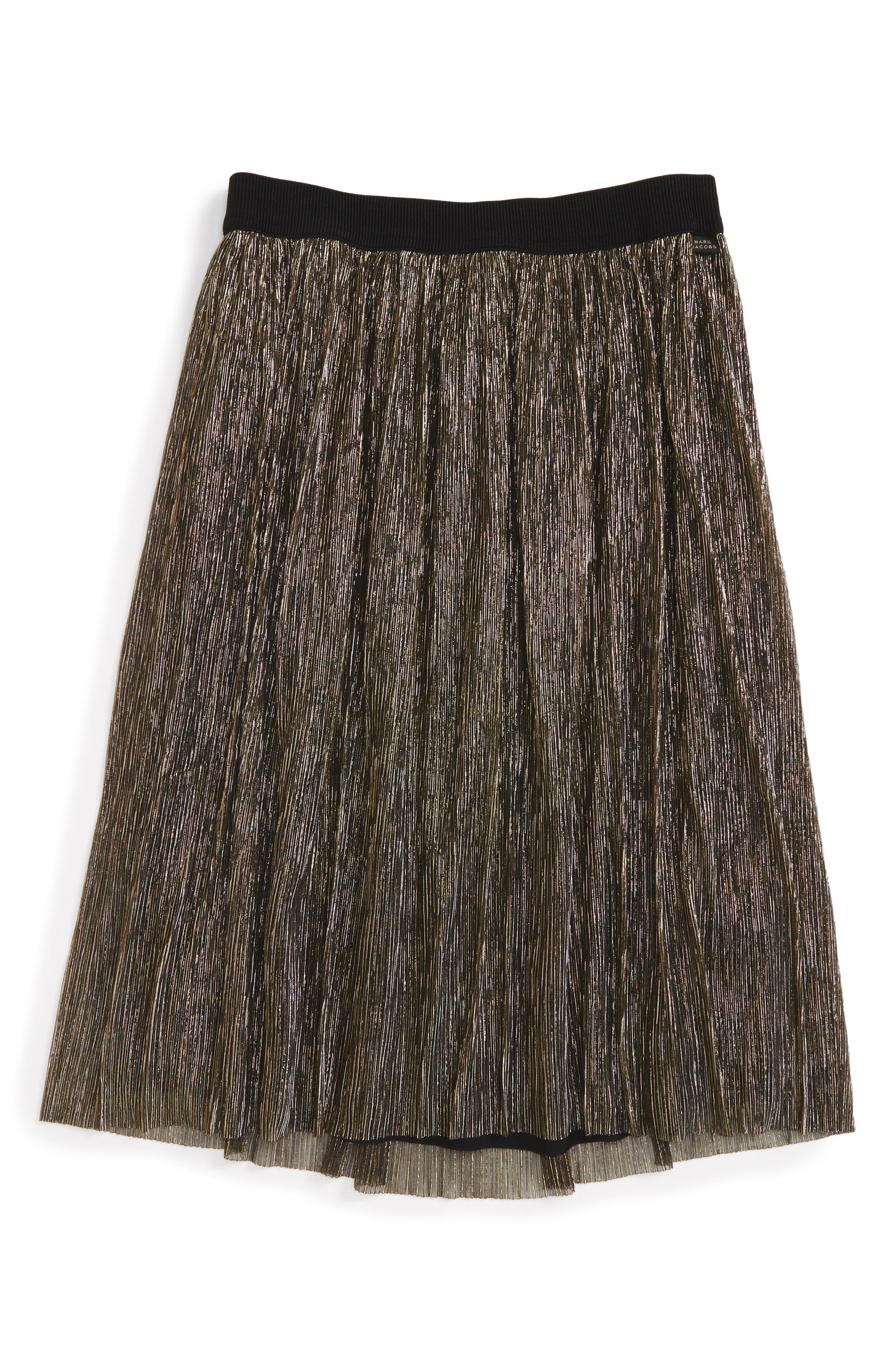 Pleated Metallic Skirt,                         Main,                         color, Black/ Gold