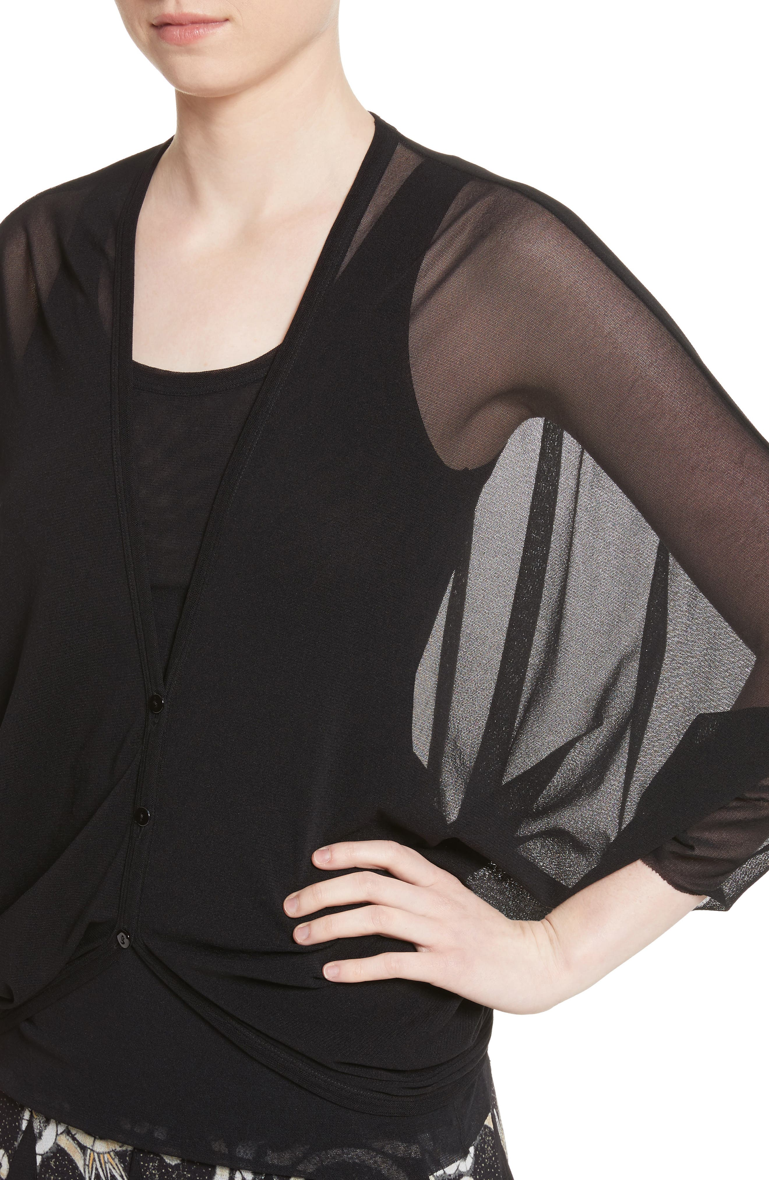 Tulle Cocoon Cardigan,                             Alternate thumbnail 4, color,                             Nero