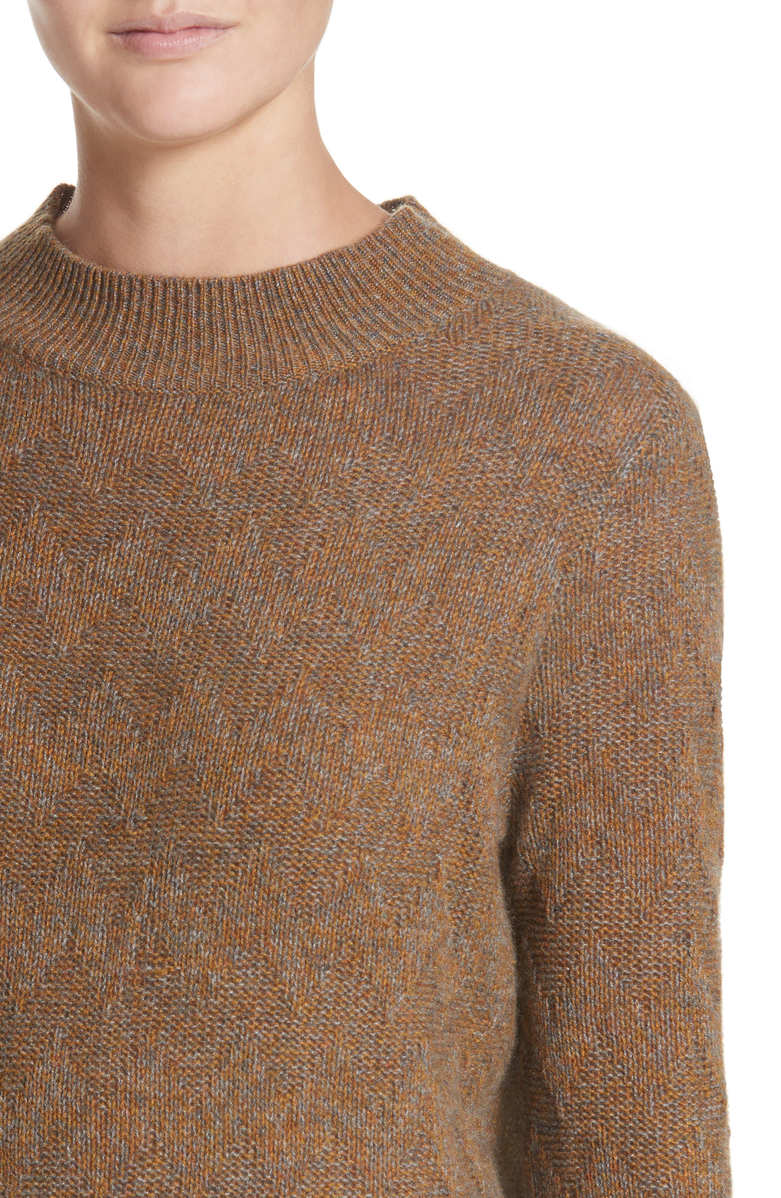 Chevron Knit Cashmere Sweater,                             Alternate thumbnail 4, color,                             Brown