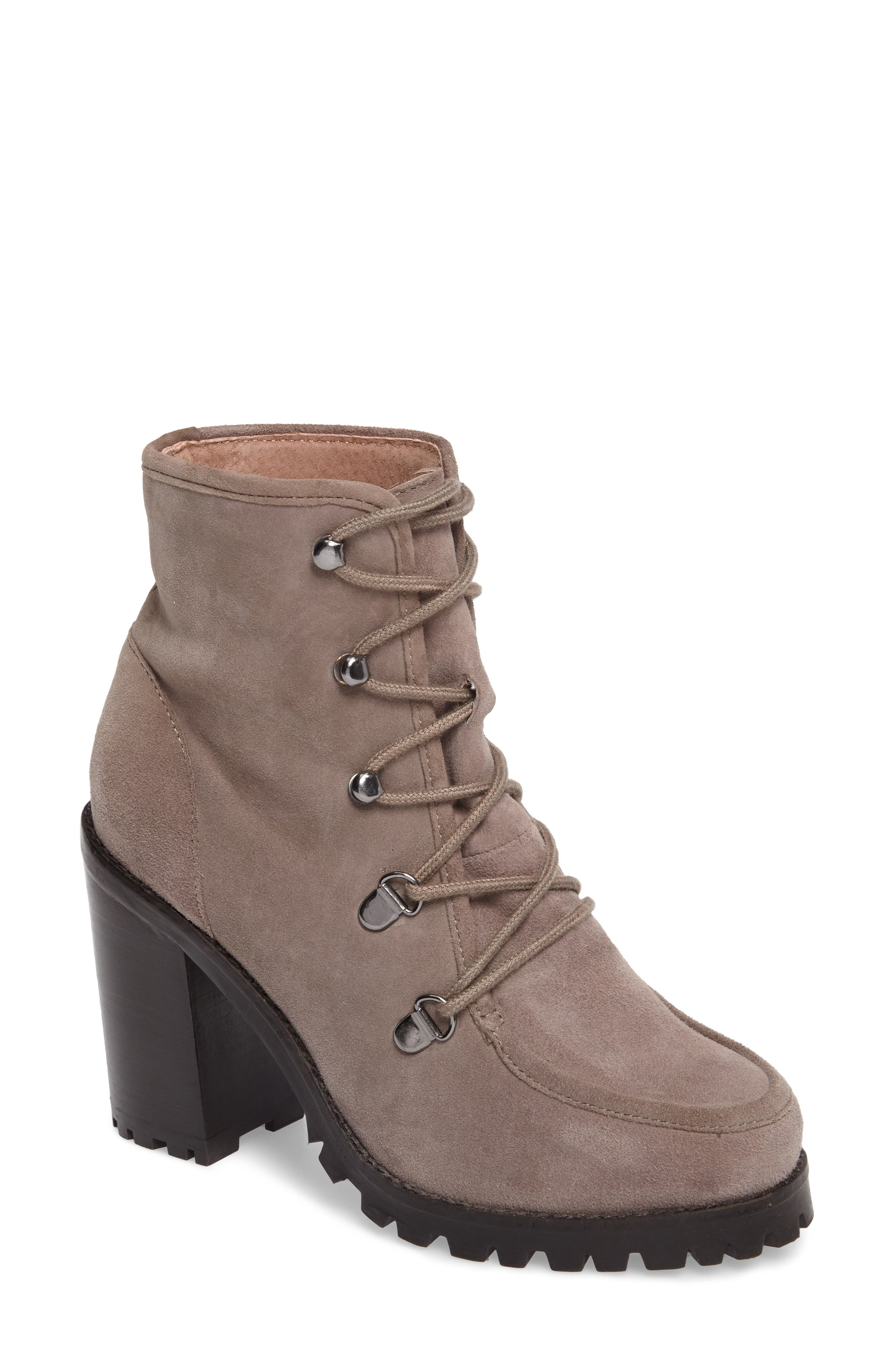 Theater Lace-Up Bootie,                             Main thumbnail 1, color,                             Taupe Suede