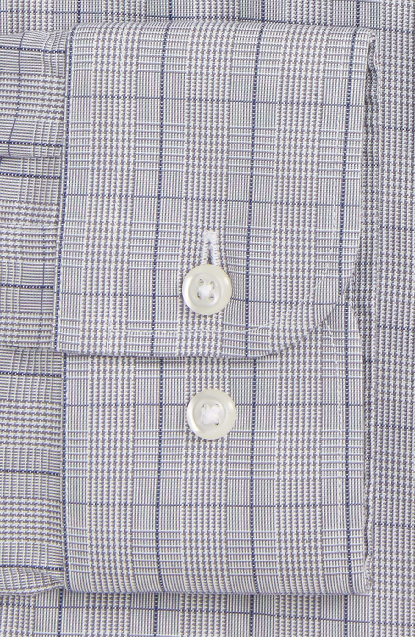 Smartcare<sup>™</sup> Extra Trim Fit Plaid Dress Shirt,                             Alternate thumbnail 5, color,                             Grey Filigree