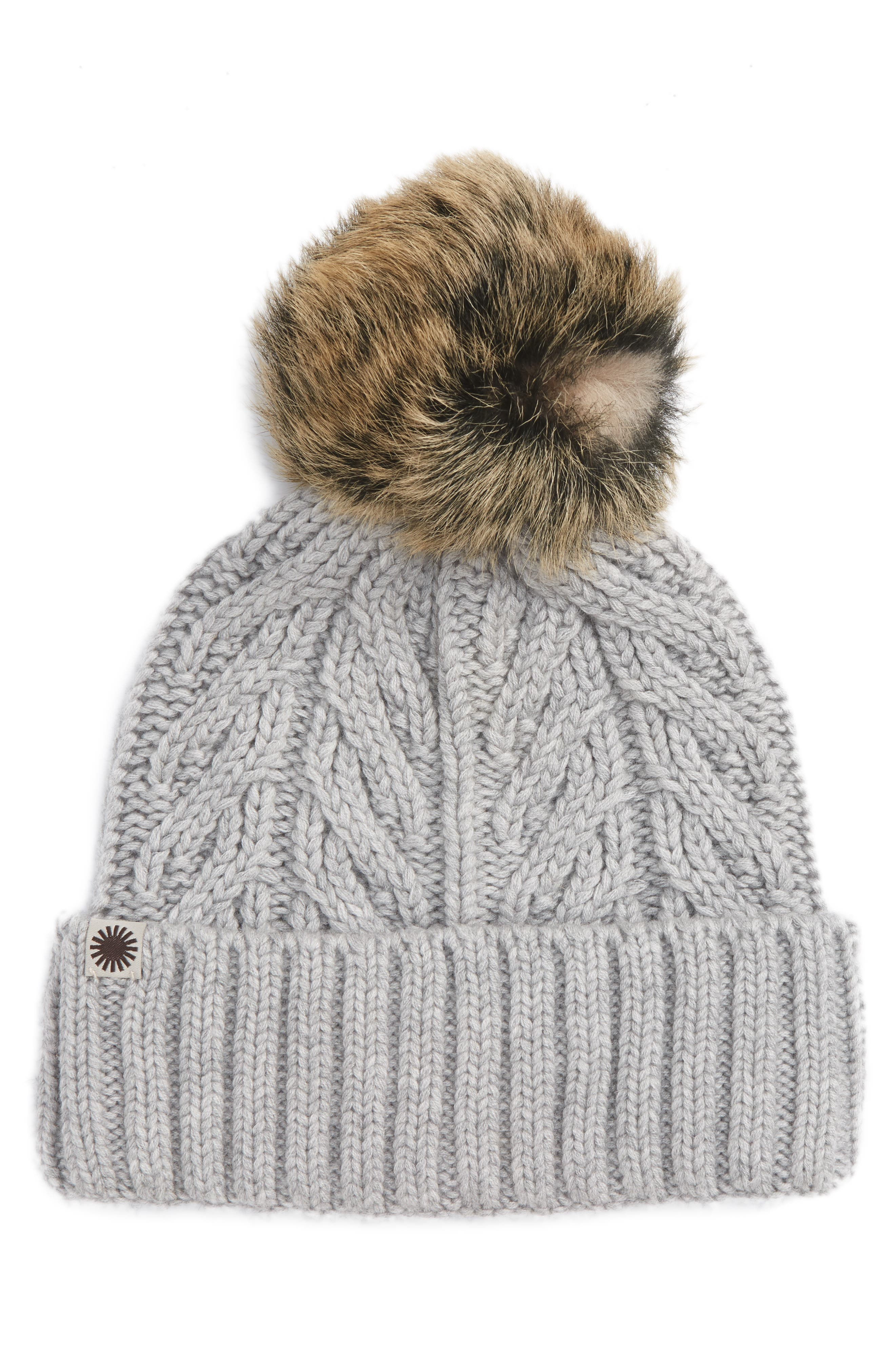UGG<sup>®</sup> Cable Knit Cuff Hat with Genuine Shearling Pom,                         Main,                         color, Sterling Heather