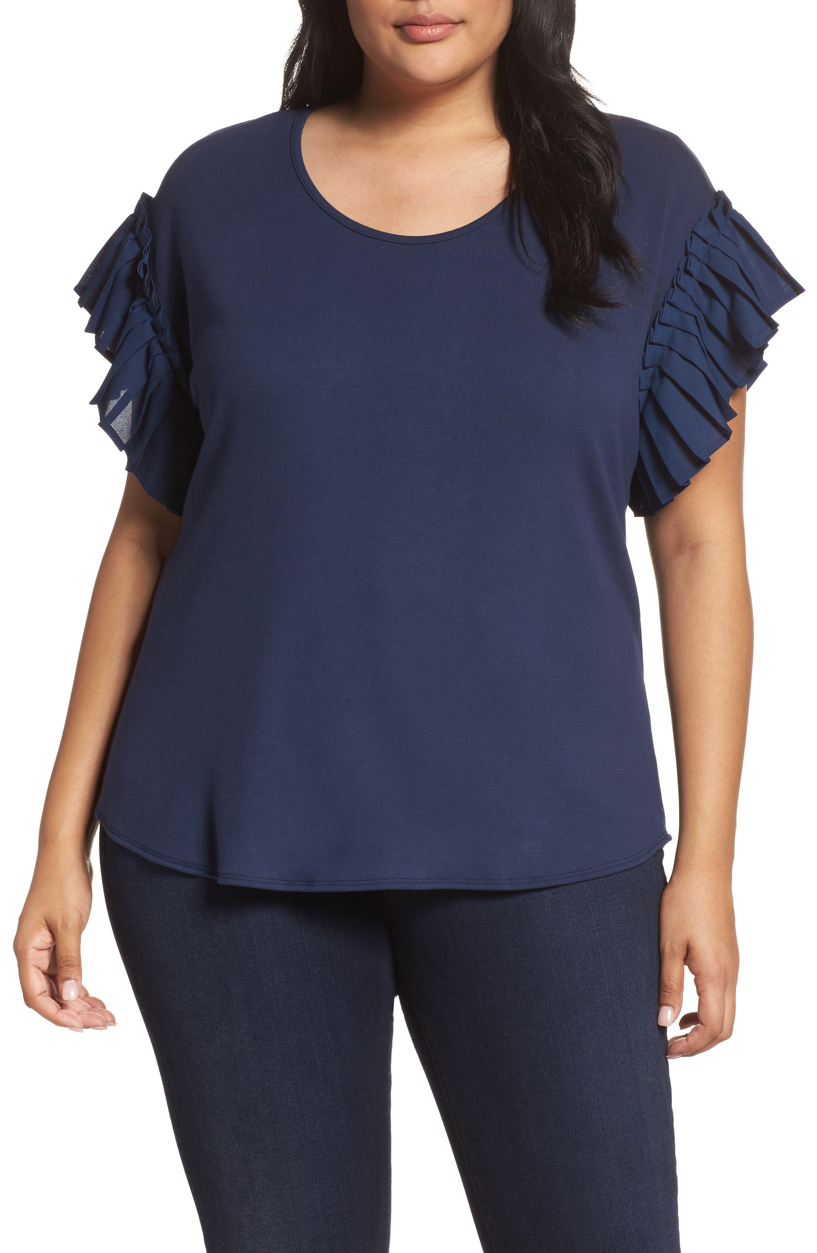 Pleat Ruffle Sleeve Top,                         Main,                         color, Navy
