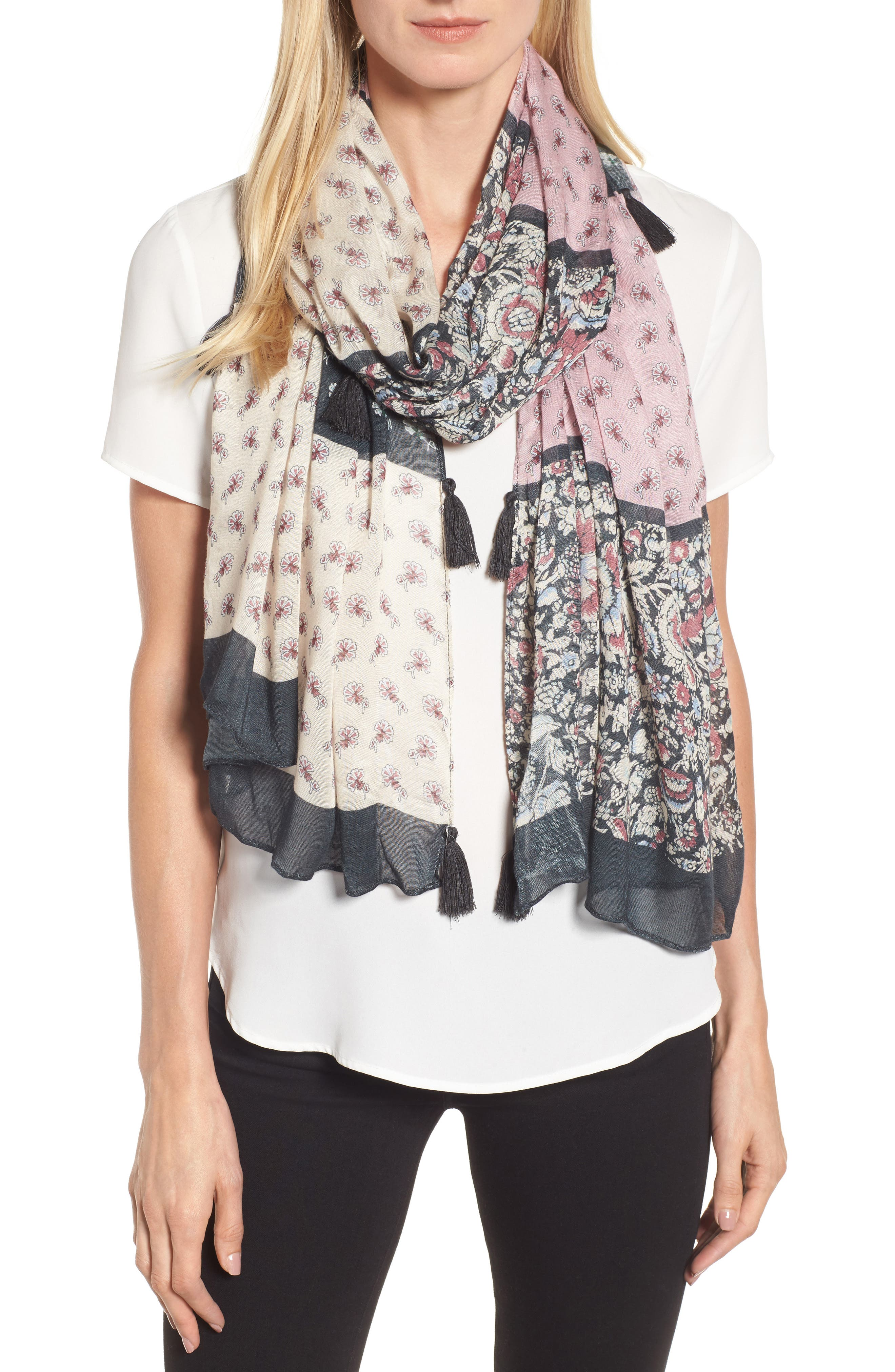 Mixed Rosette Oblong Scarf,                         Main,                         color, Multi