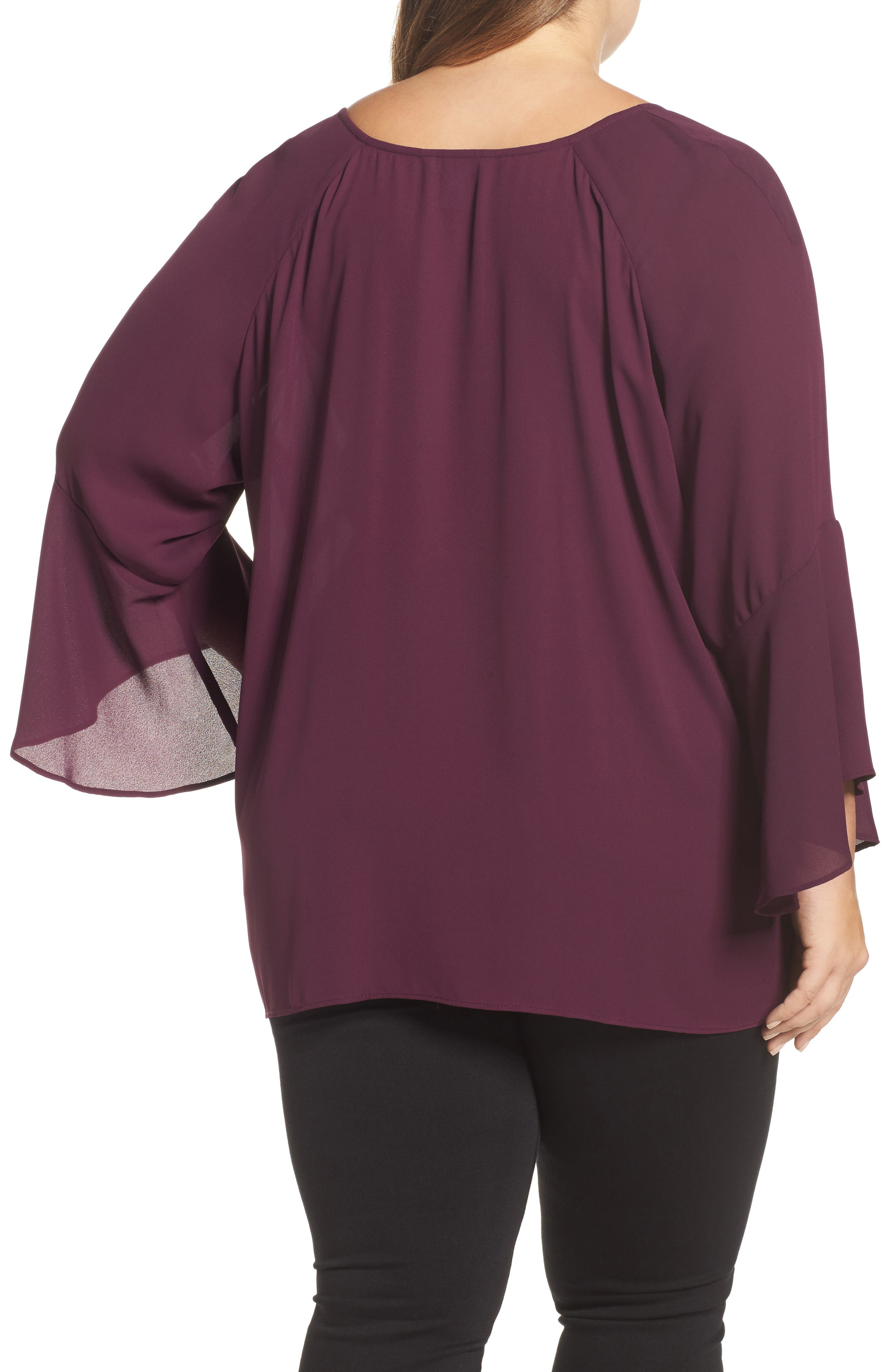 Bell Sleeve Blouse,                             Alternate thumbnail 2, color,                             Eggplant