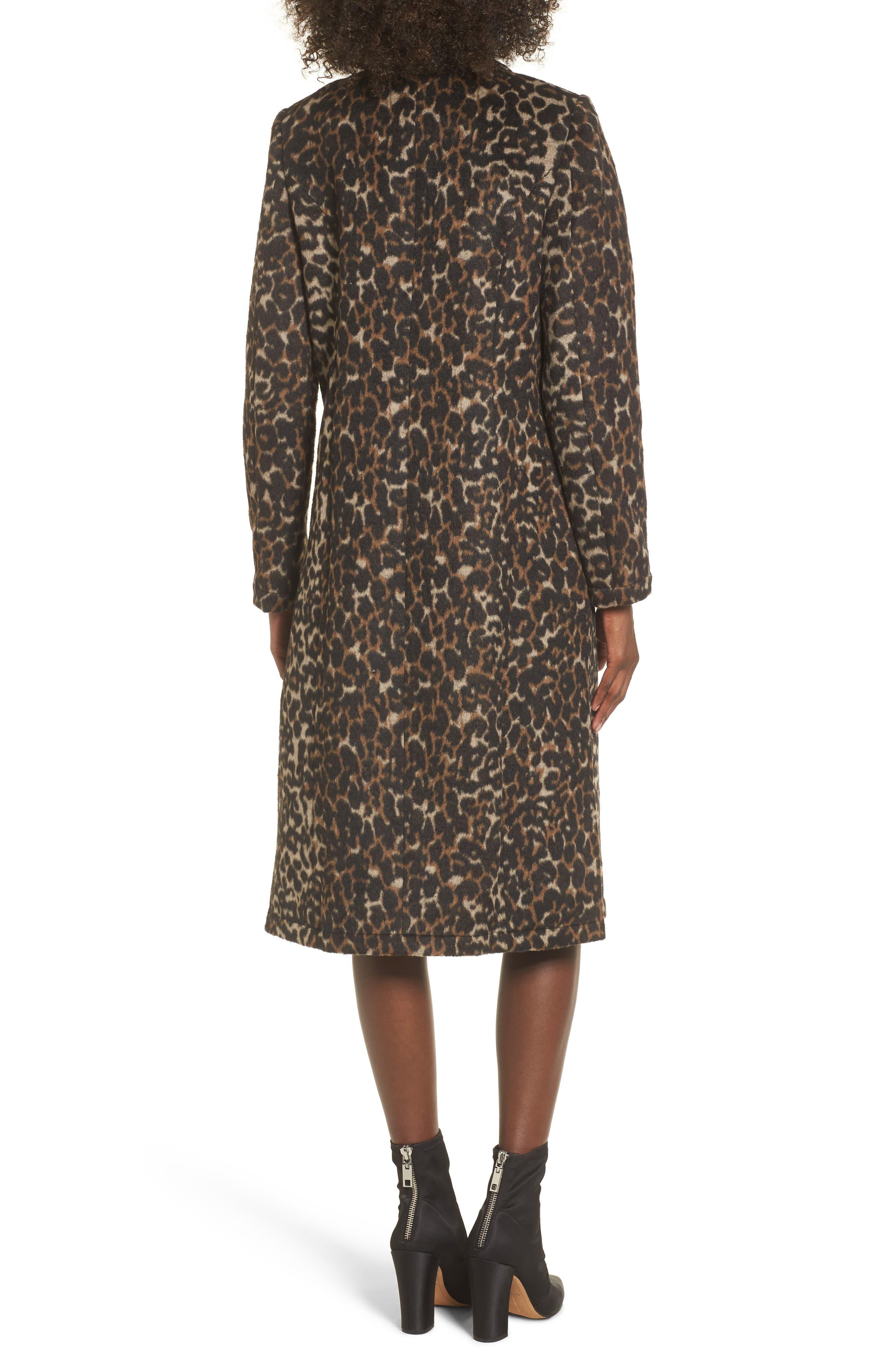 Longline Leopard Print Coat,                             Alternate thumbnail 2, color,                             Black Leopard