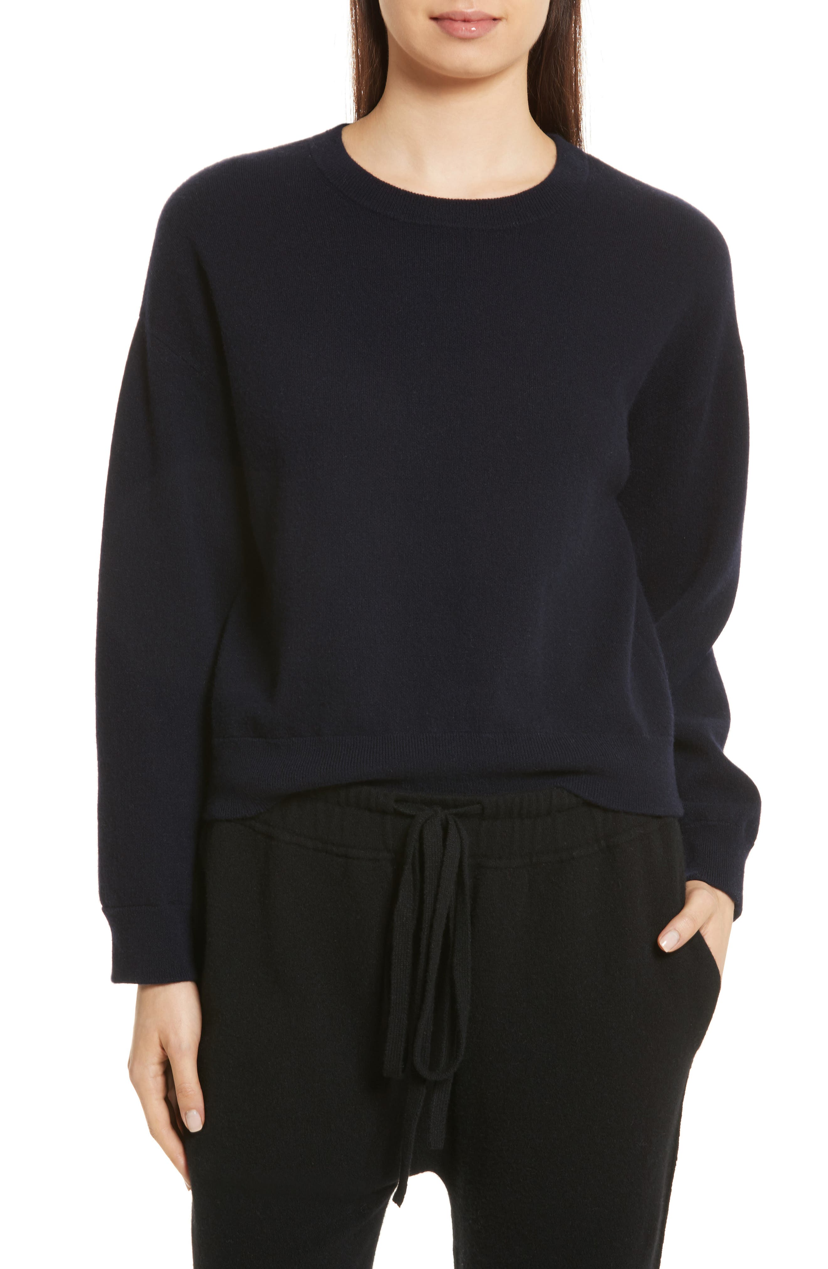 Double Layer Cashmere & Cotton Sweater,                         Main,                         color, Coastal/ Black