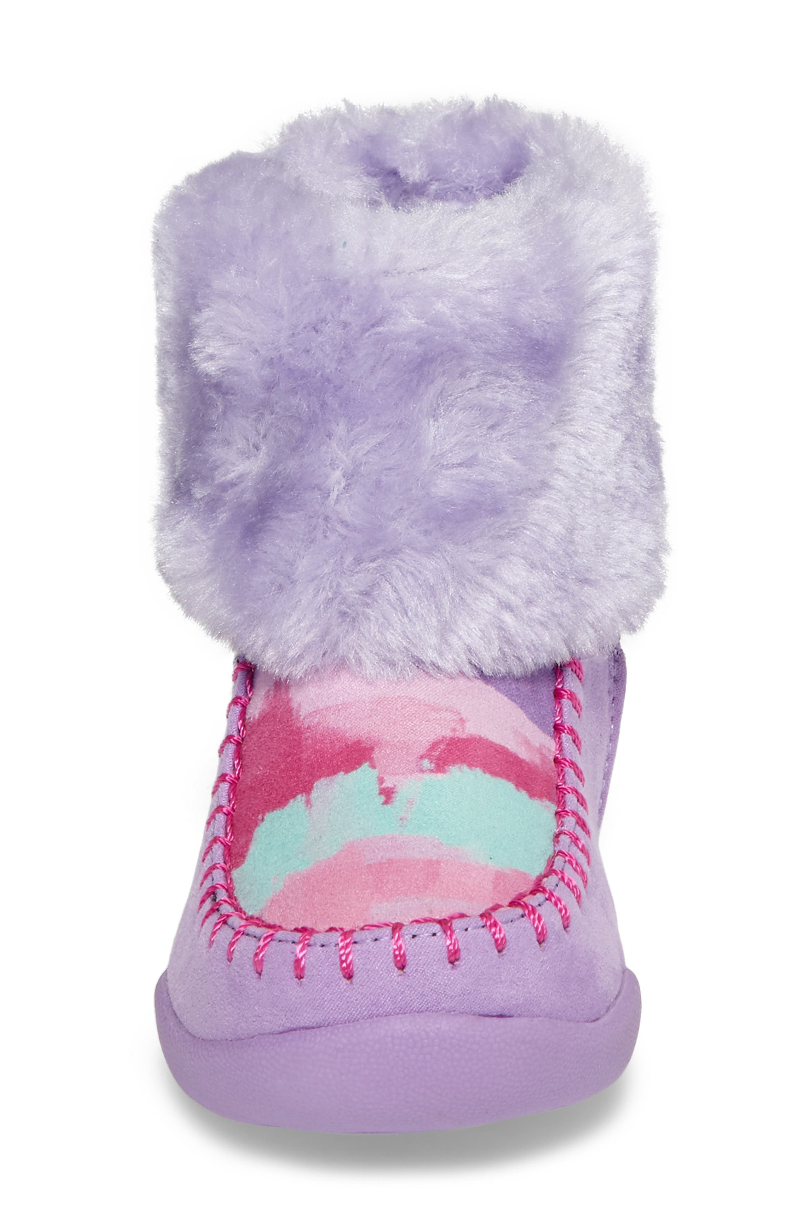 Comfy Faux Fur Patterned Boot,                             Alternate thumbnail 4, color,                             Brush