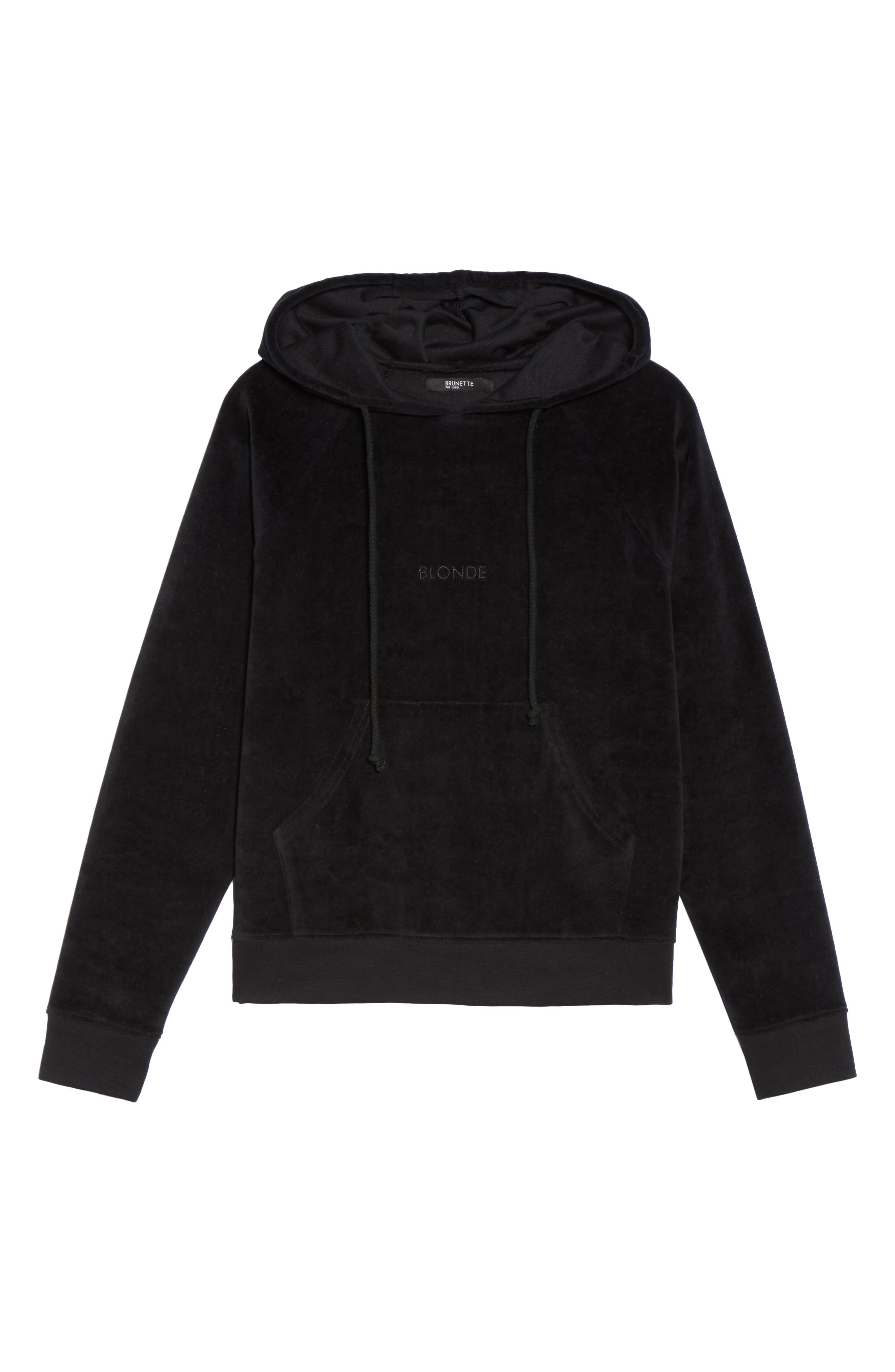 Blonde Embroidered Velour Hoodie,                             Alternate thumbnail 4, color,                             Black