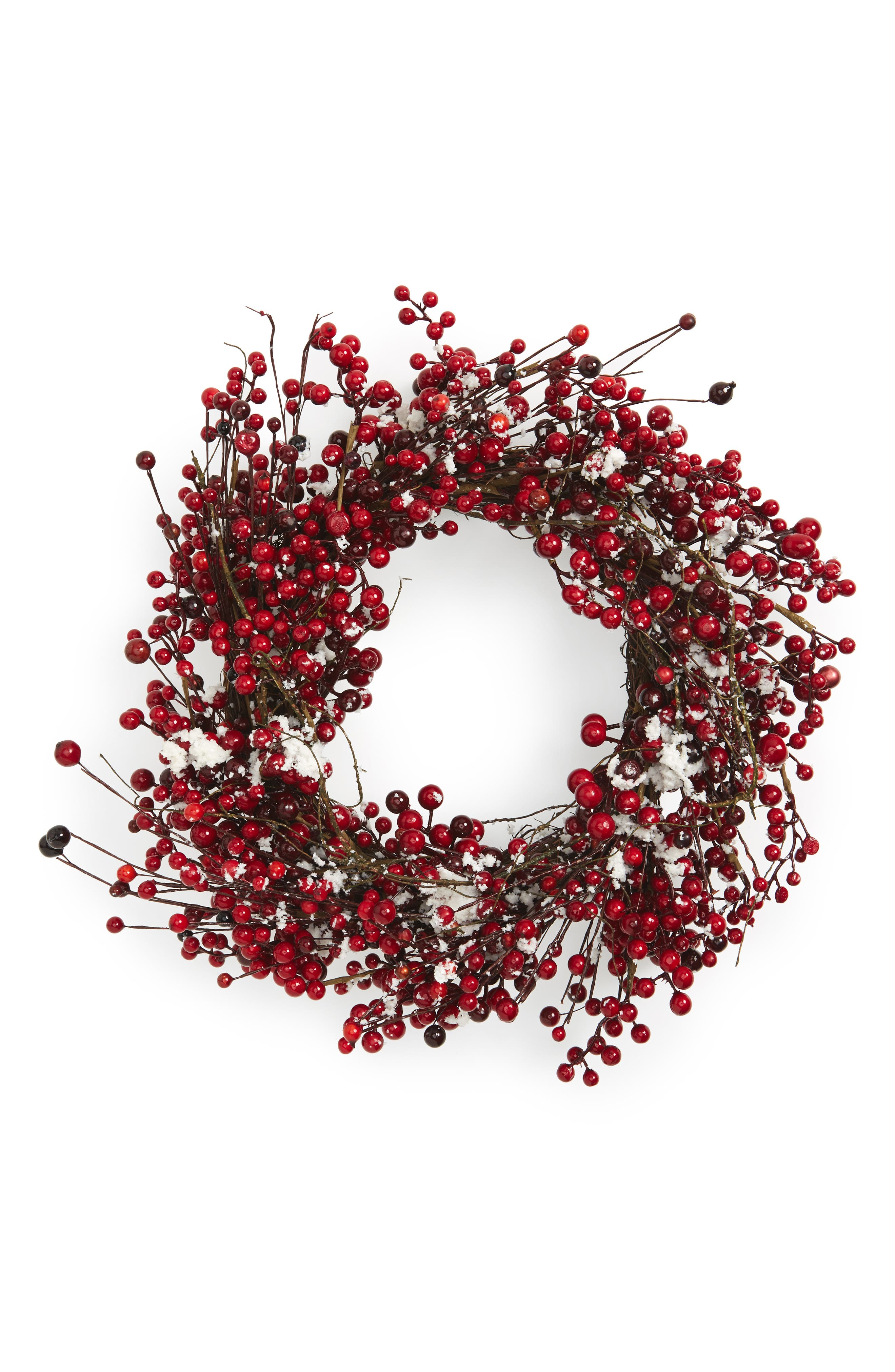 Red Berry Wreath,                             Main thumbnail 1, color,                             Frosted Red And White