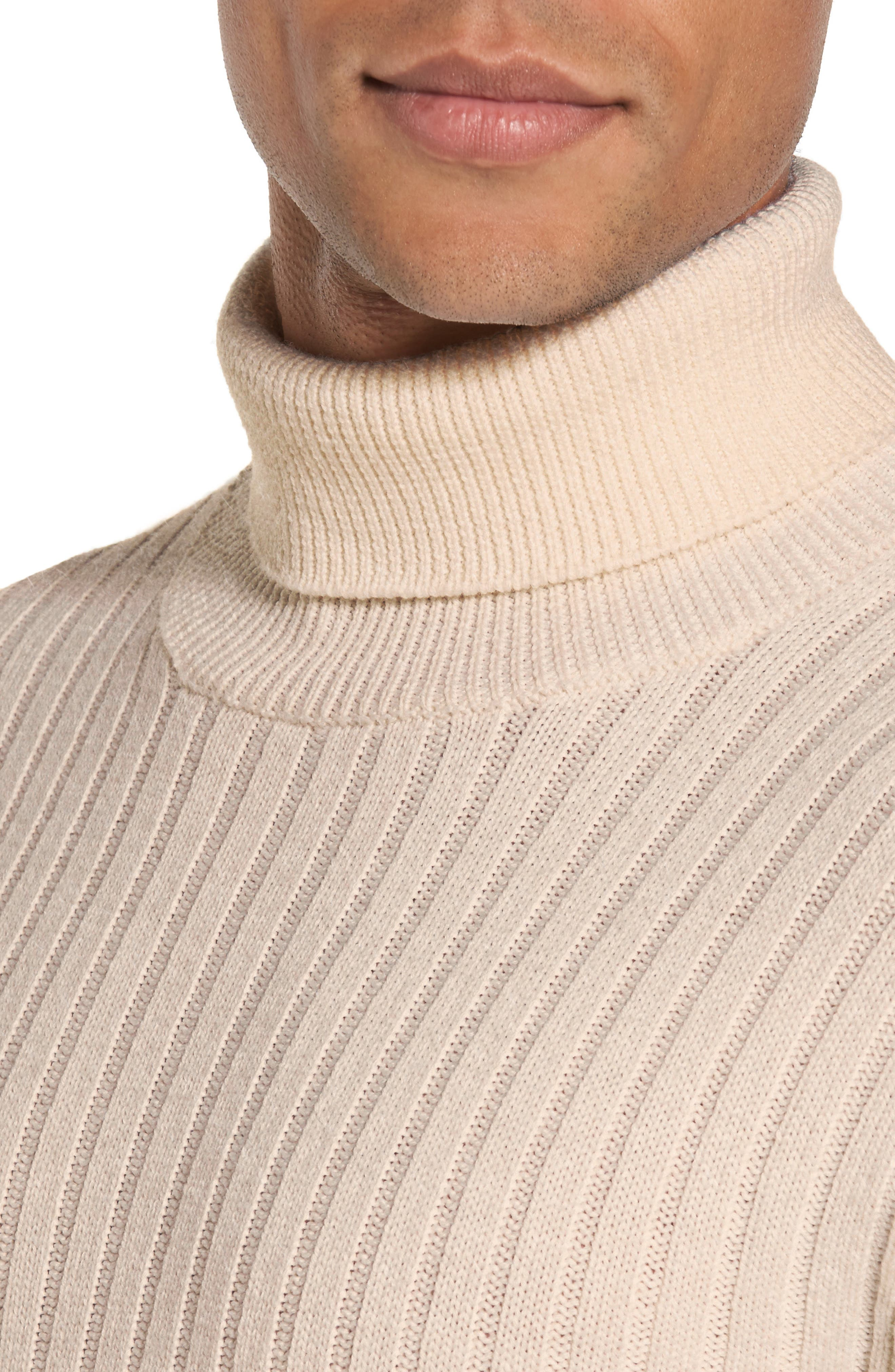 Ribbed Turtleneck Wool Sweater,                             Alternate thumbnail 5, color,                             Cream