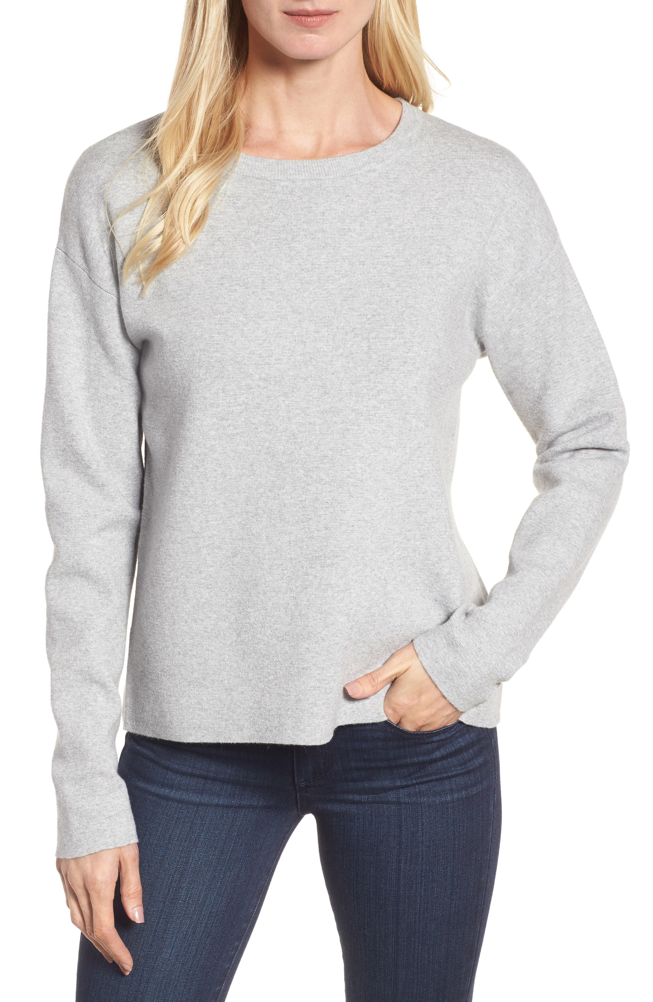 Tie Back Sweater,                             Main thumbnail 1, color,                             Heather Grey