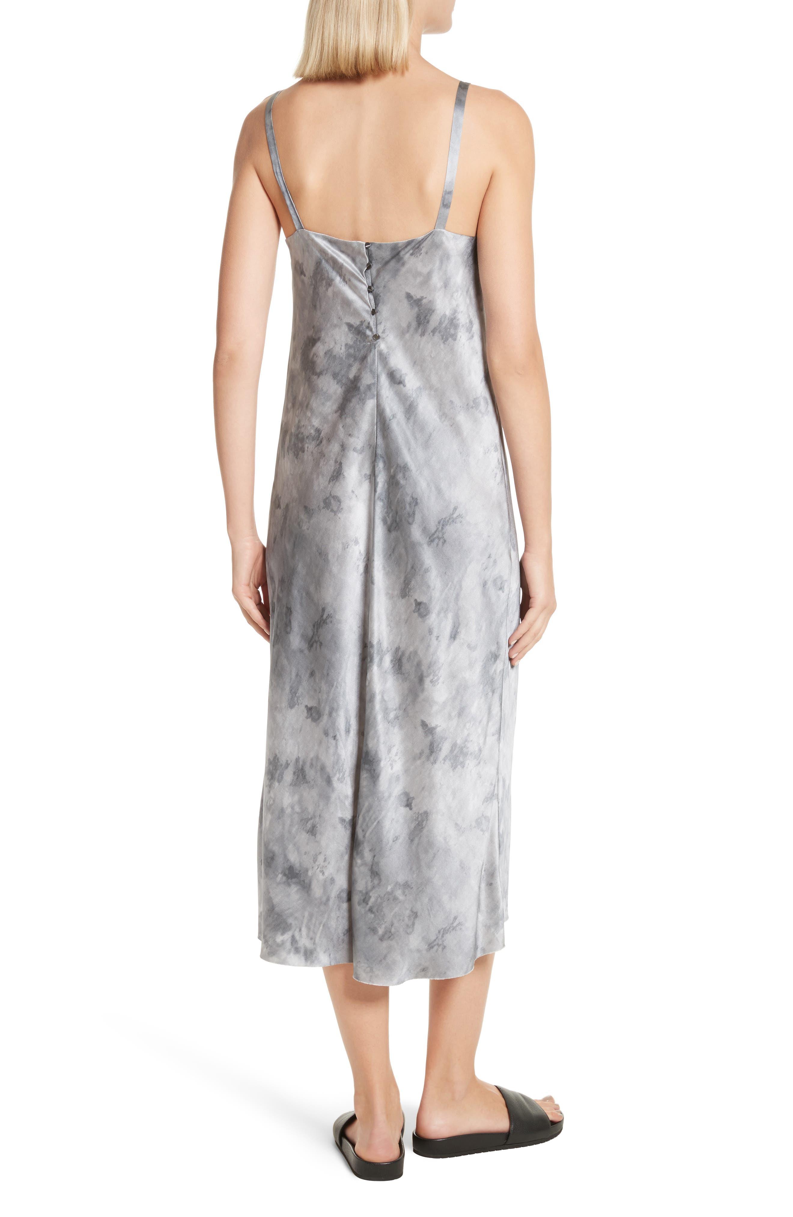 Watercolor Marble Silk Midi Dress,                             Alternate thumbnail 2, color,                             Dark Smoke